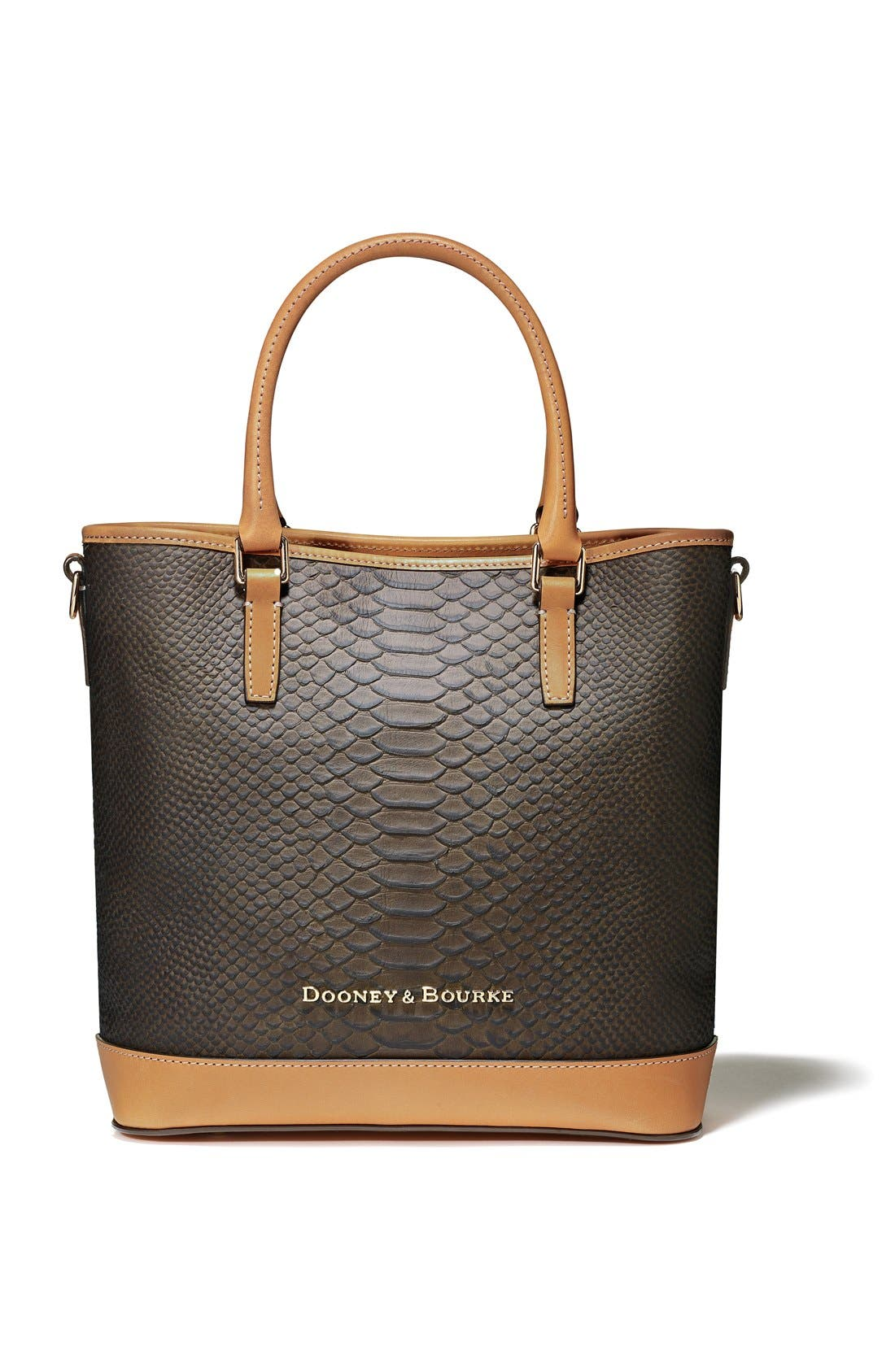 DOONEY & BOURKE, 'Cara' Snake Embossed Leather Satchel, Alternate thumbnail 3, color, 001
