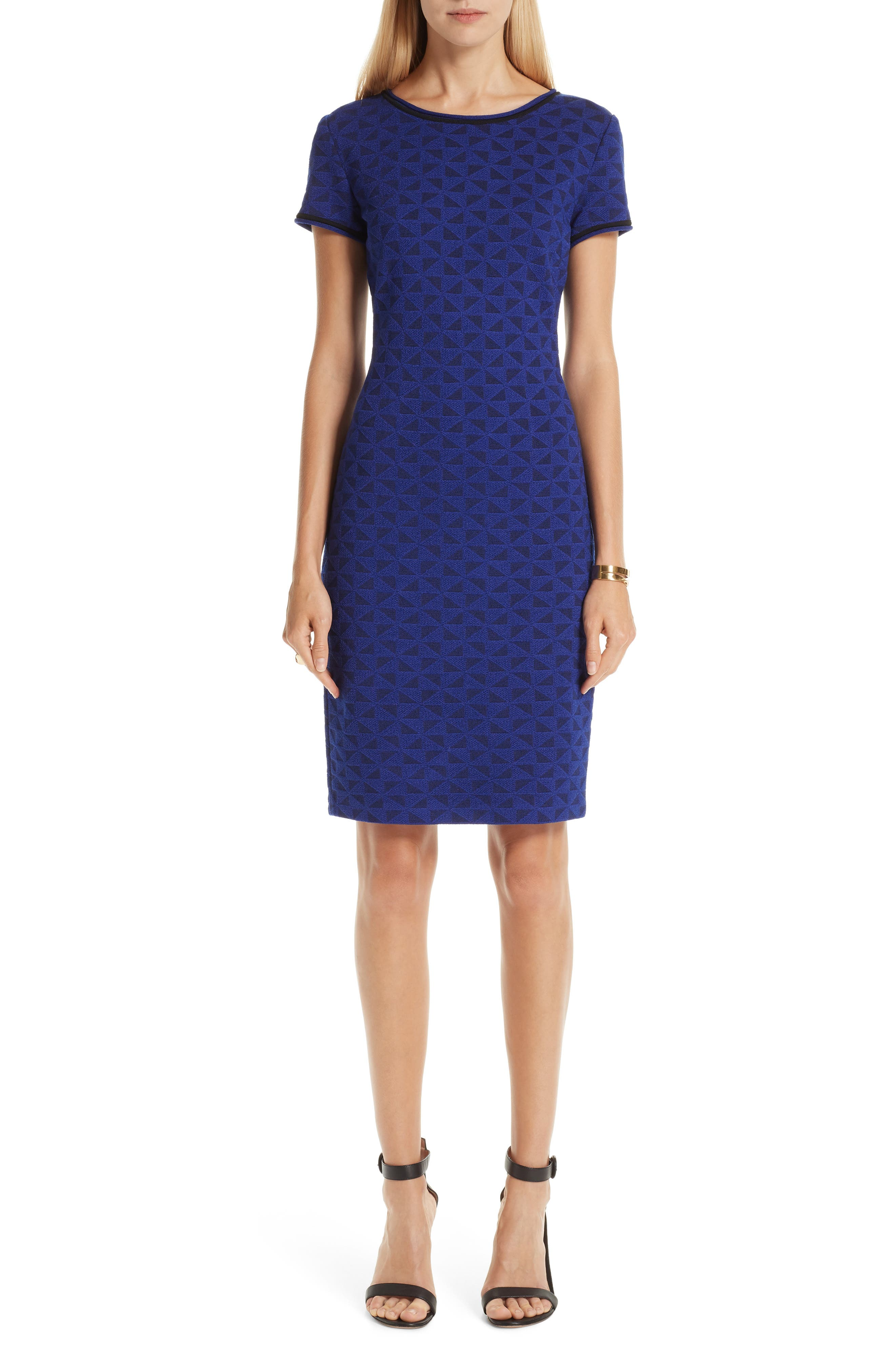 ST. JOHN COLLECTION, Micro Geo Blister Knit Sheath Dress, Alternate thumbnail 8, color, CAVIAR/ SAPPHIRE