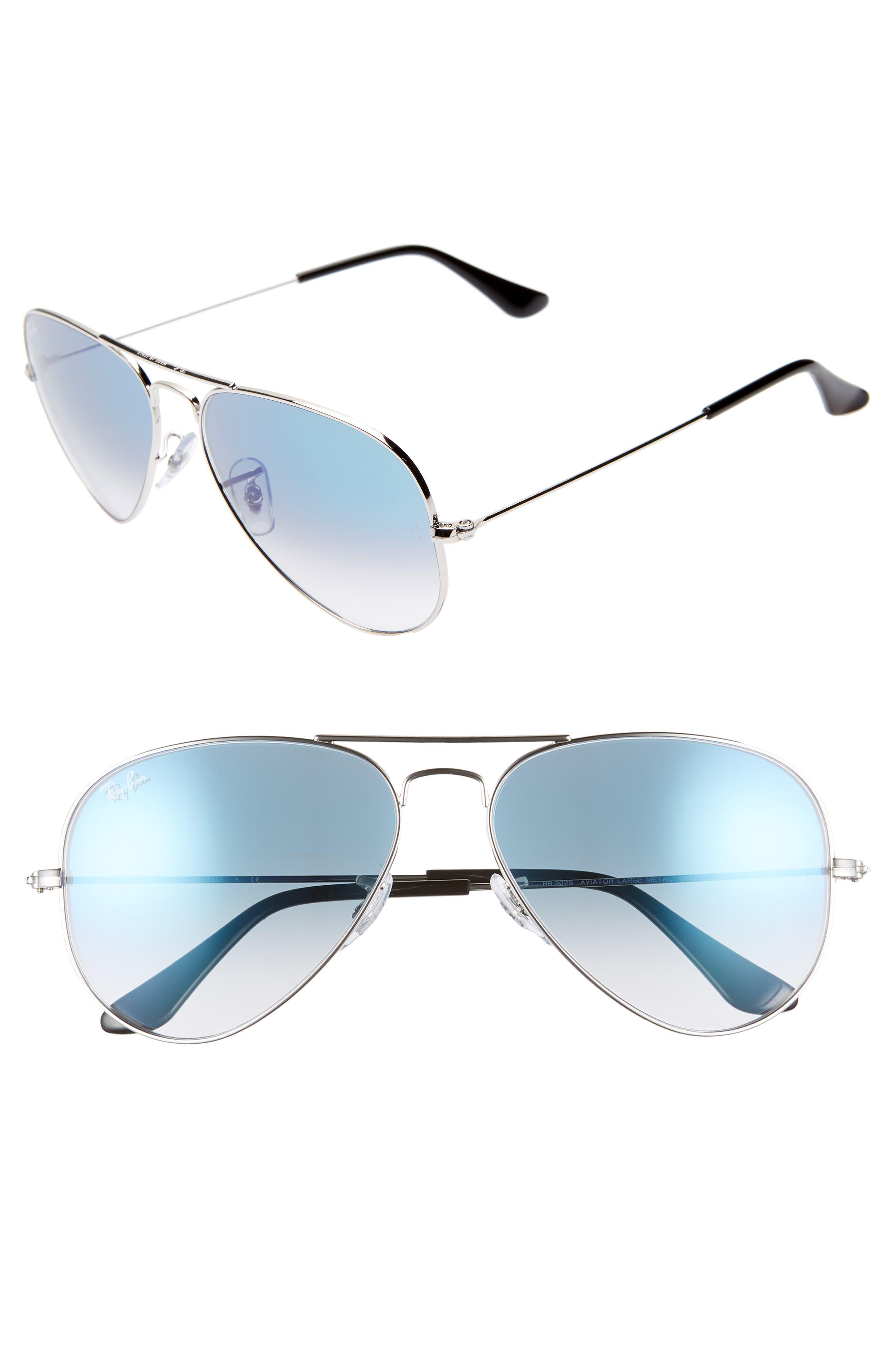 RAY-BAN, 58mm Gradient Aviator Sunglasses, Main thumbnail 1, color, SILVER/ BLUE GRADIENT