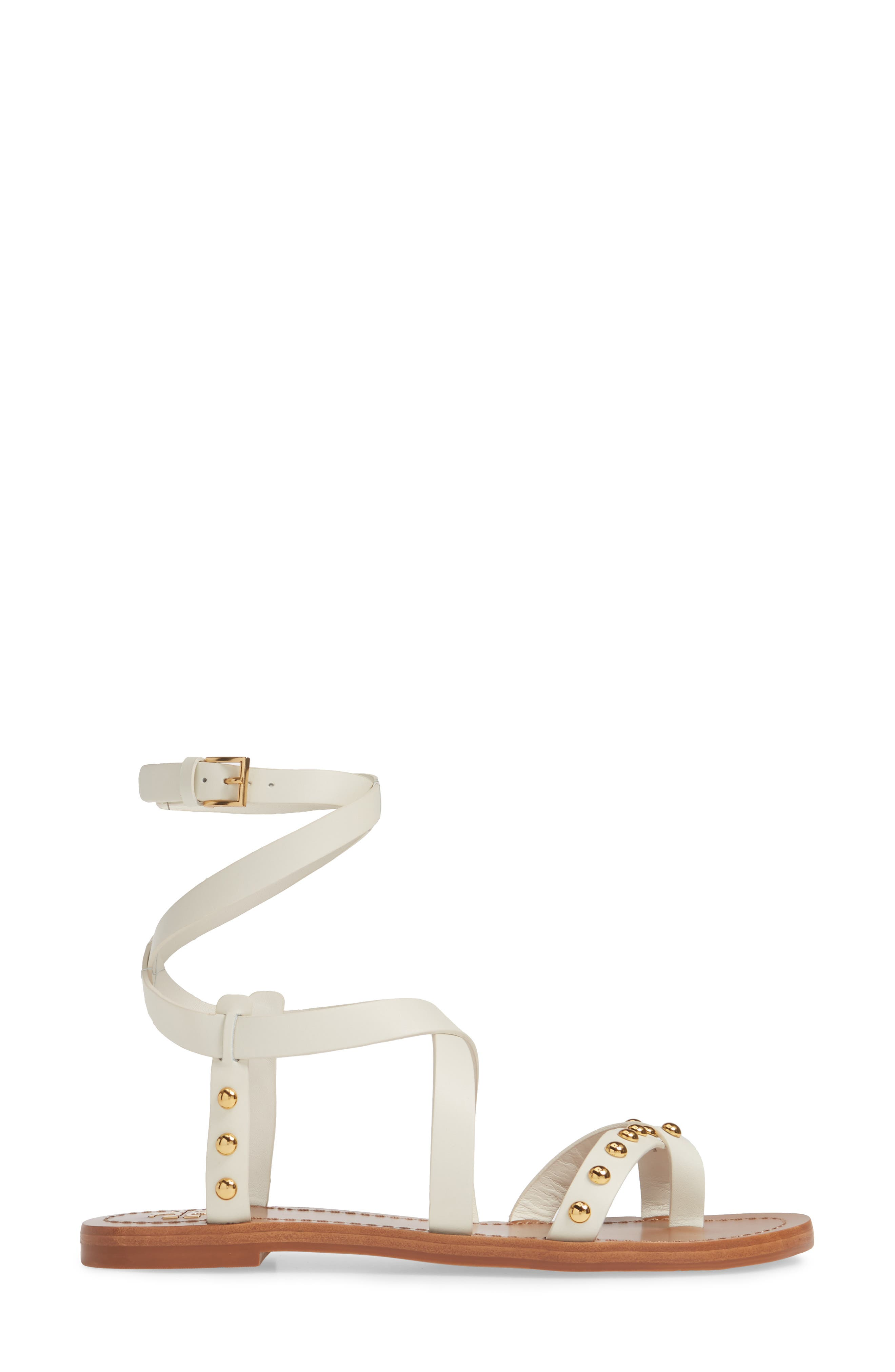 TORY BURCH, Ravello Studded Cage Sandal, Alternate thumbnail 3, color, PERFECT IVORY