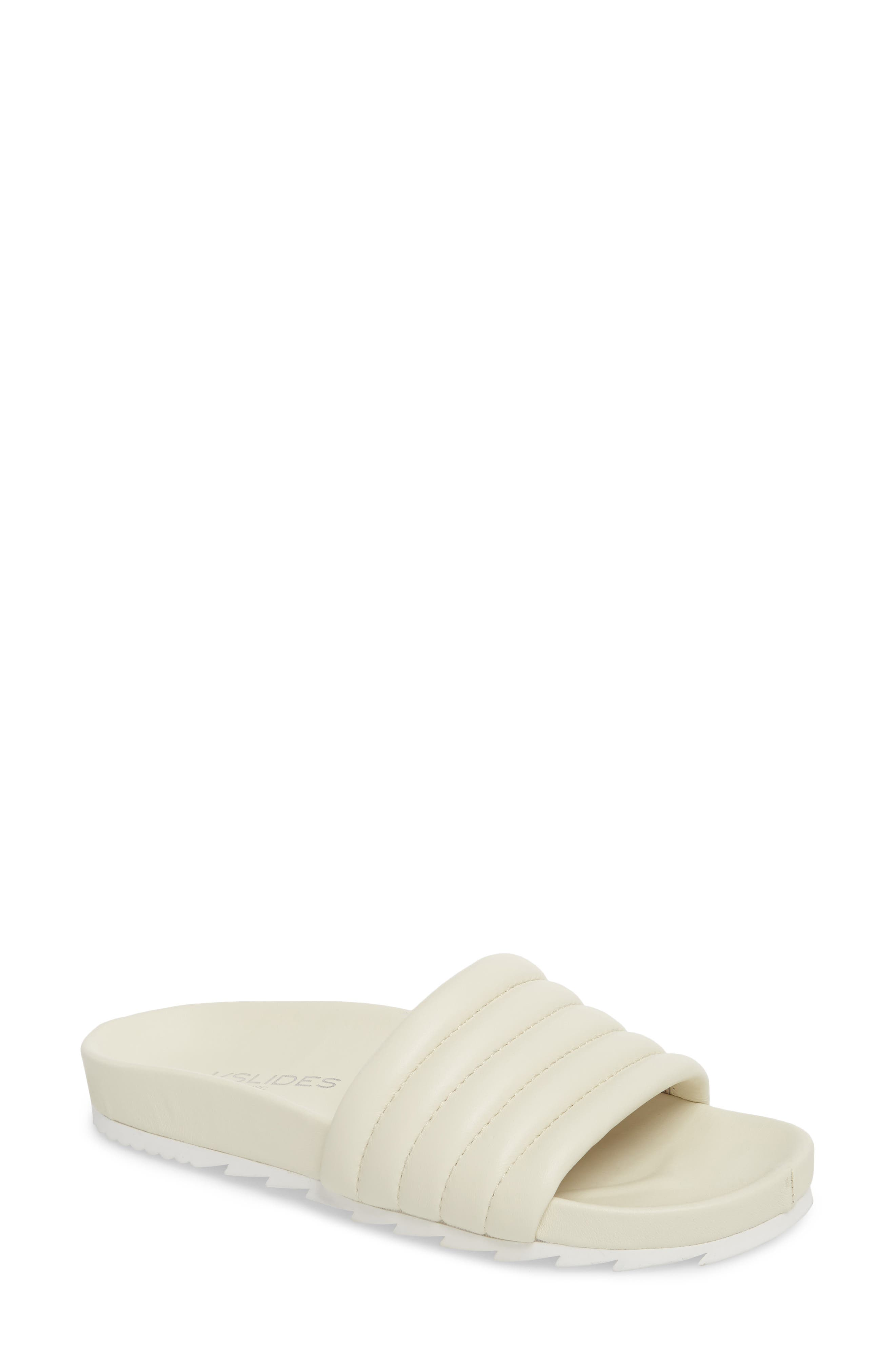 JSLIDES, Eppie Slide Sandal, Main thumbnail 1, color, OFF WHITE LEATHER