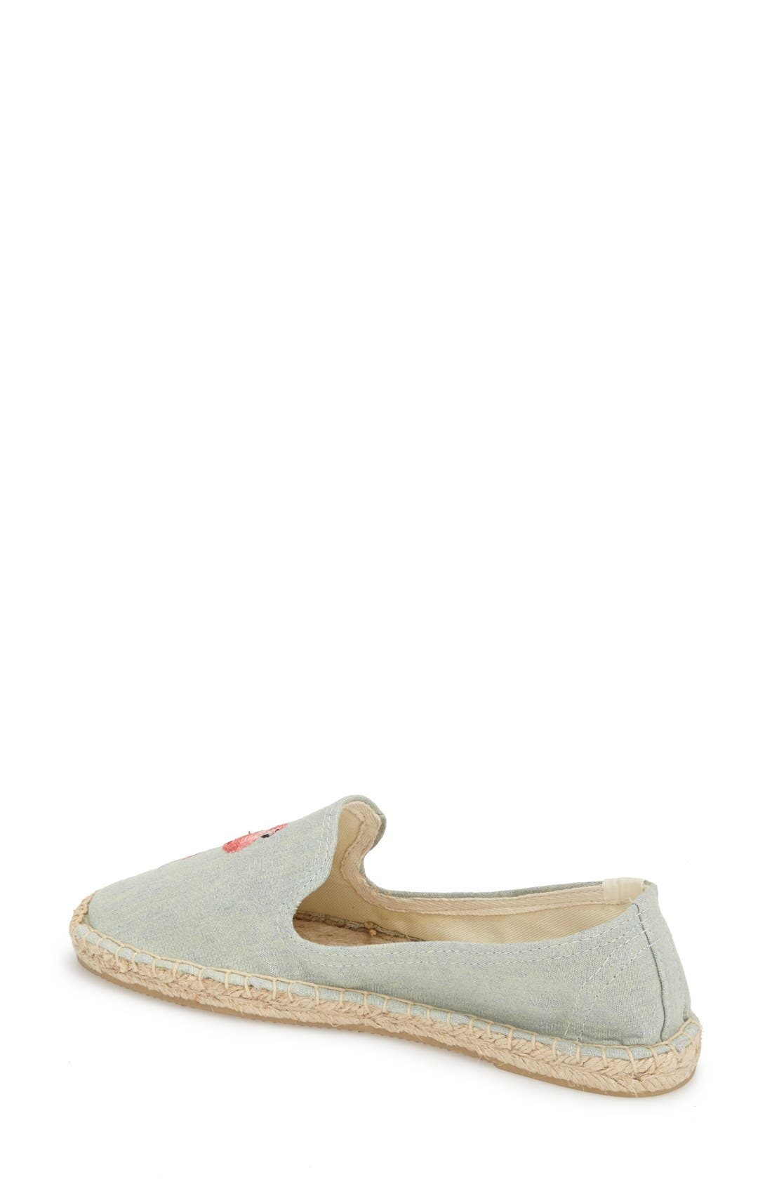 SOLUDOS, Espadrille Slip-On, Alternate thumbnail 2, color, FLAMINGO CHAMBRAY