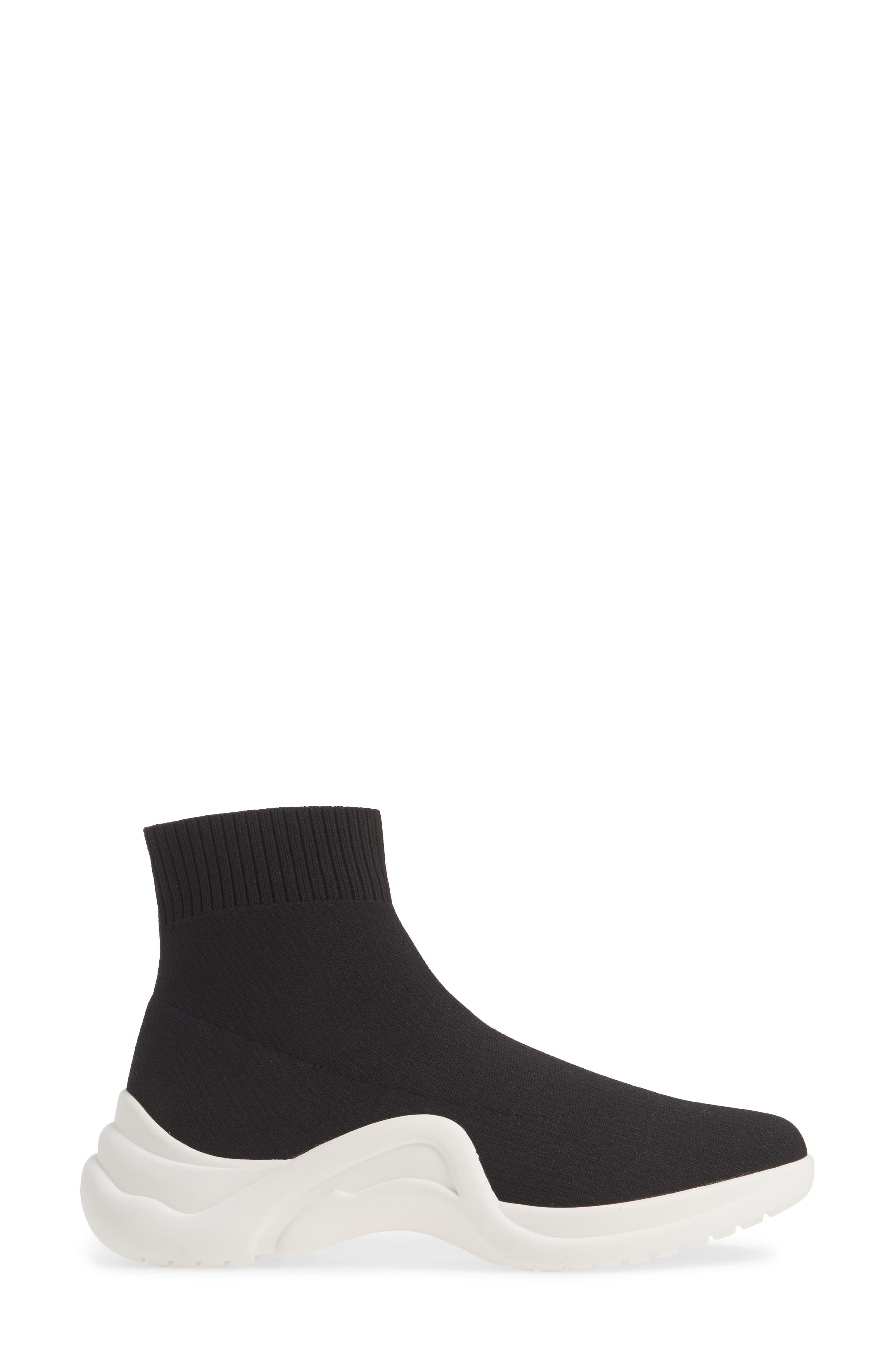 LINEA PAOLO, Gale Sneaker, Alternate thumbnail 3, color, BLACK KNIT FABRIC