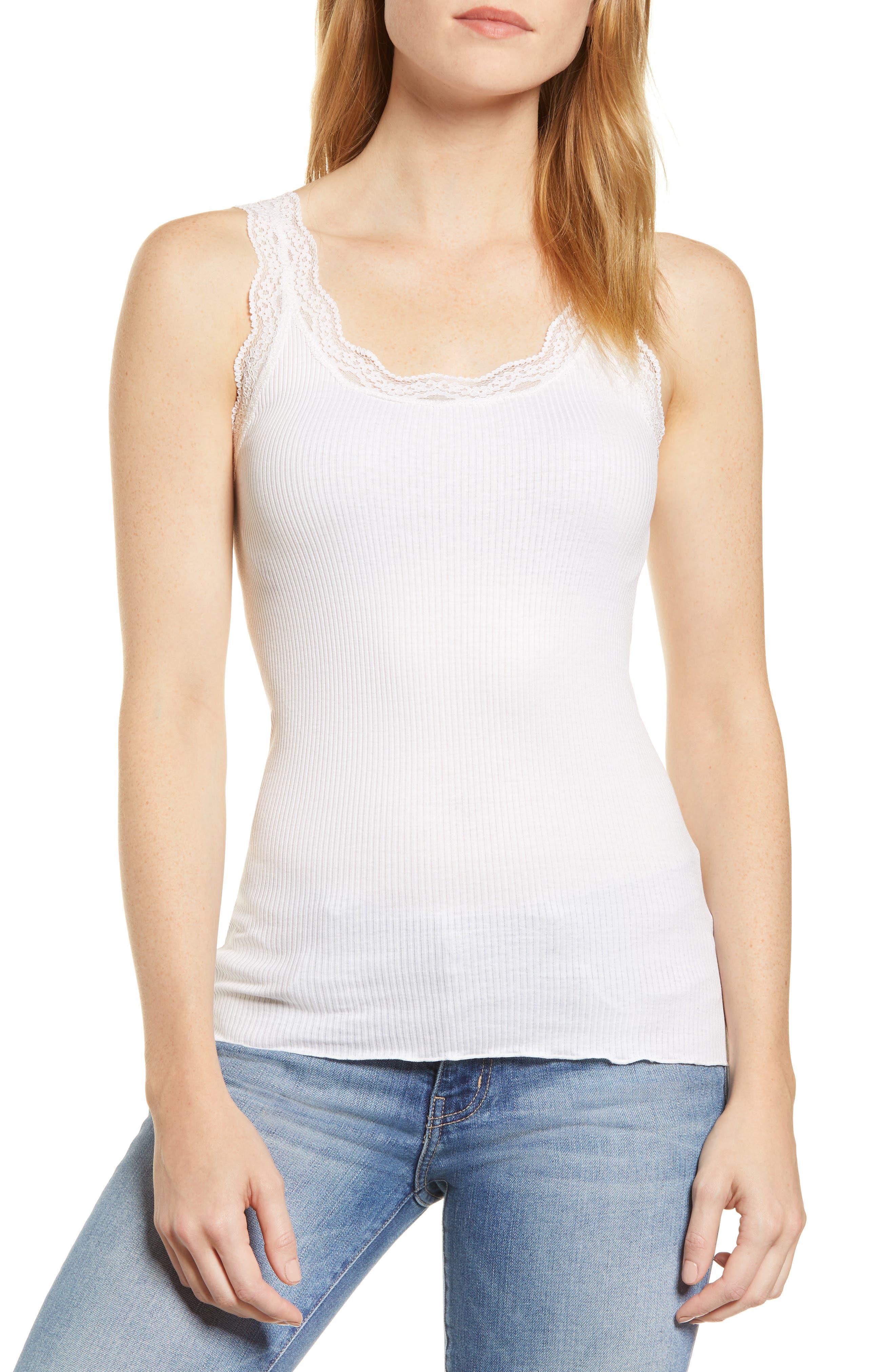 ROSEMUNDE, Lace Trim Rib Silk Blend Tank, Main thumbnail 1, color, NEW WHITE