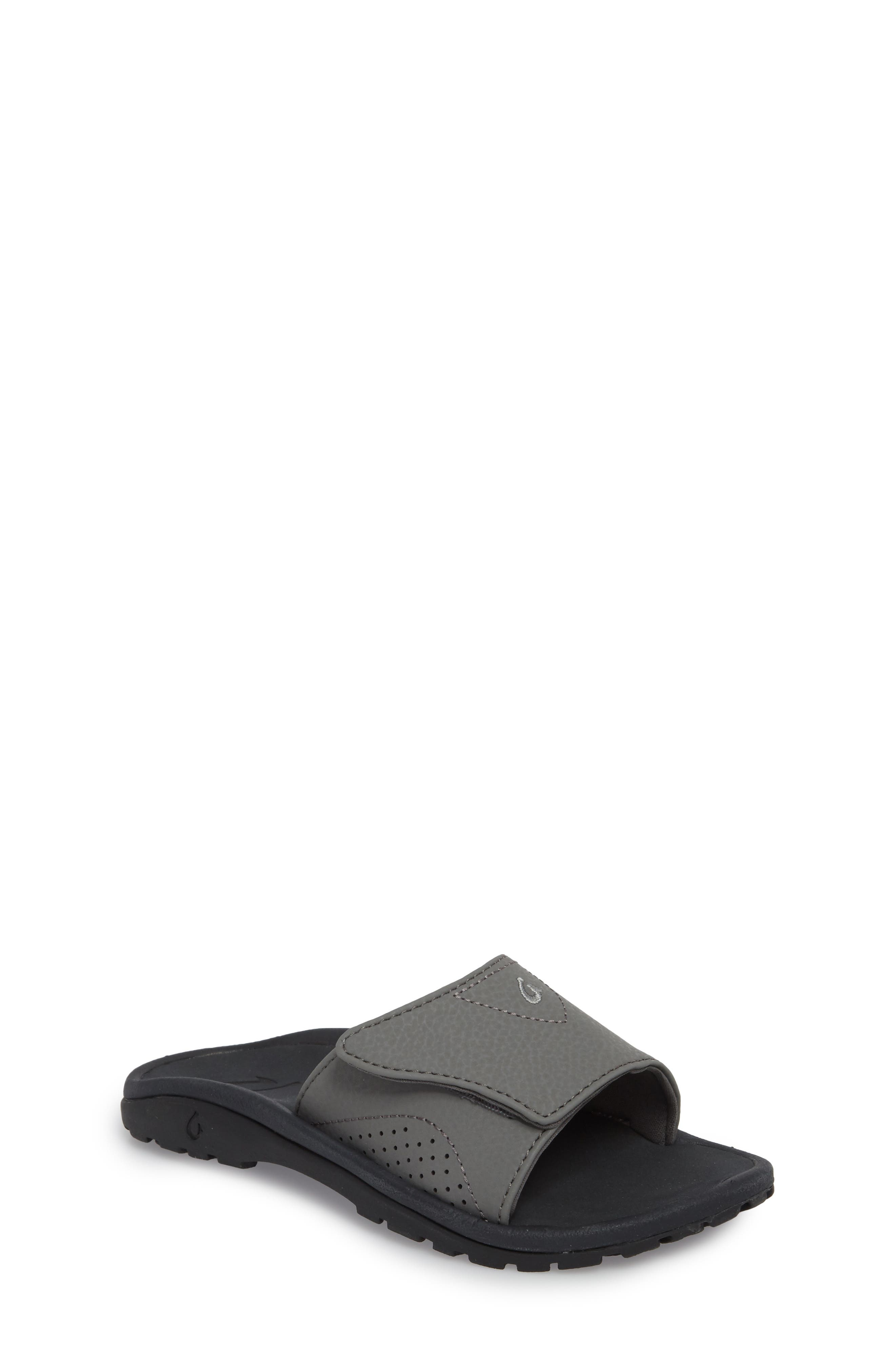 OLUKAI Nalu Slide Sandal, Main, color, CHARCOAL/ LAVA ROCK
