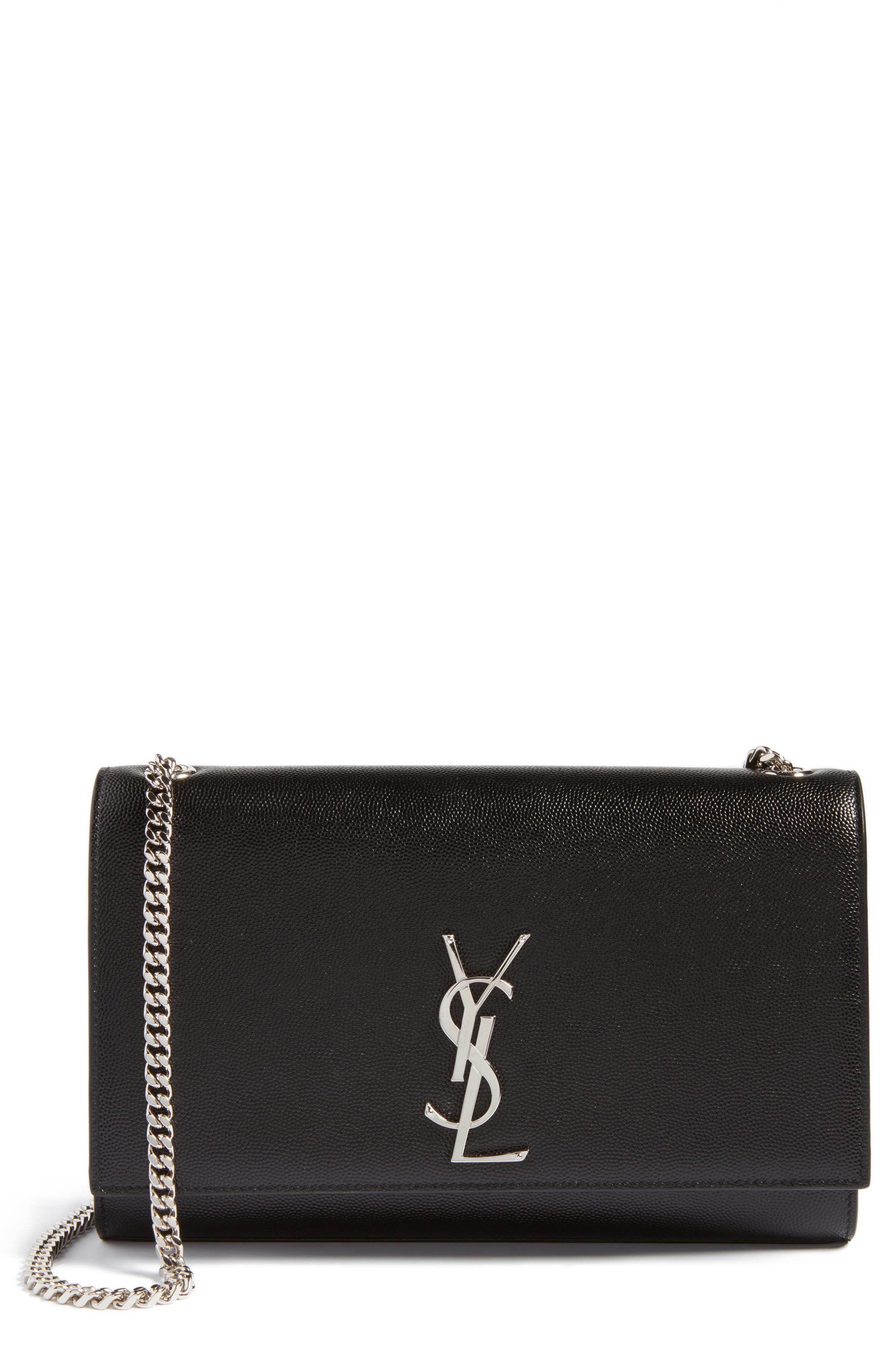 SAINT LAURENT, Medium Kate Calfskin Leather Shoulder Bag, Main thumbnail 1, color, NERO