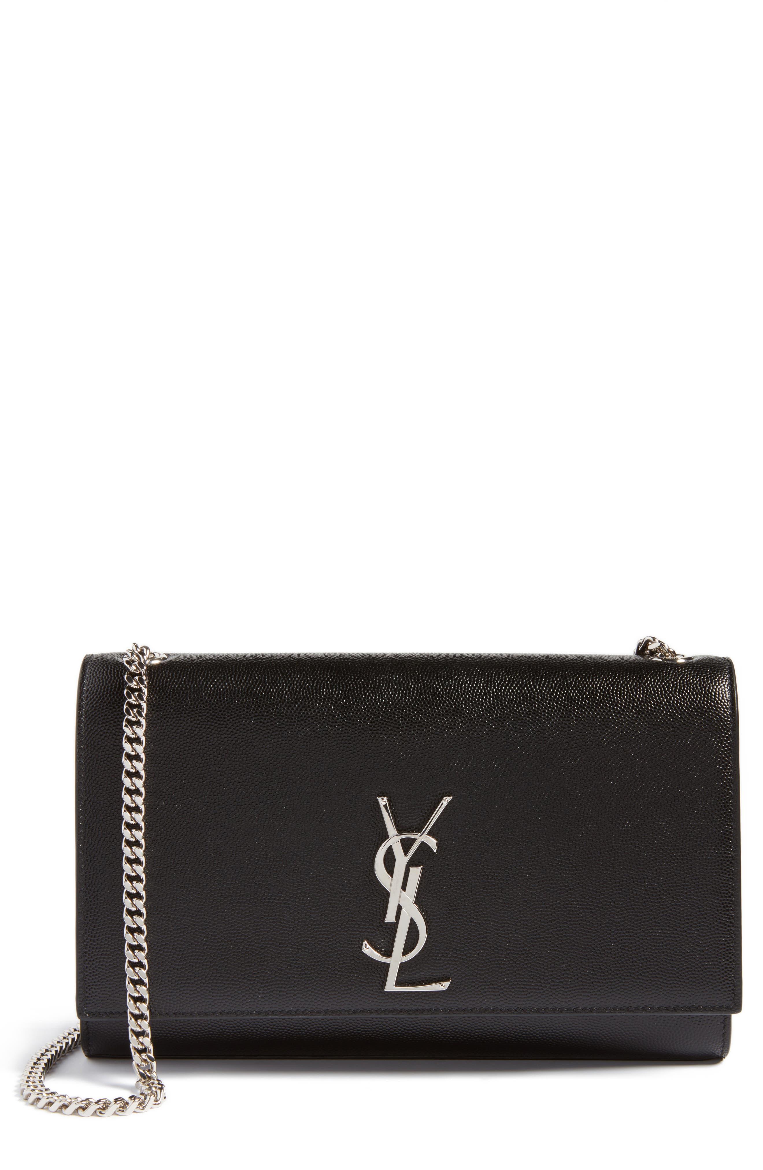 SAINT LAURENT Medium Kate Calfskin Leather Shoulder Bag, Main, color, NERO