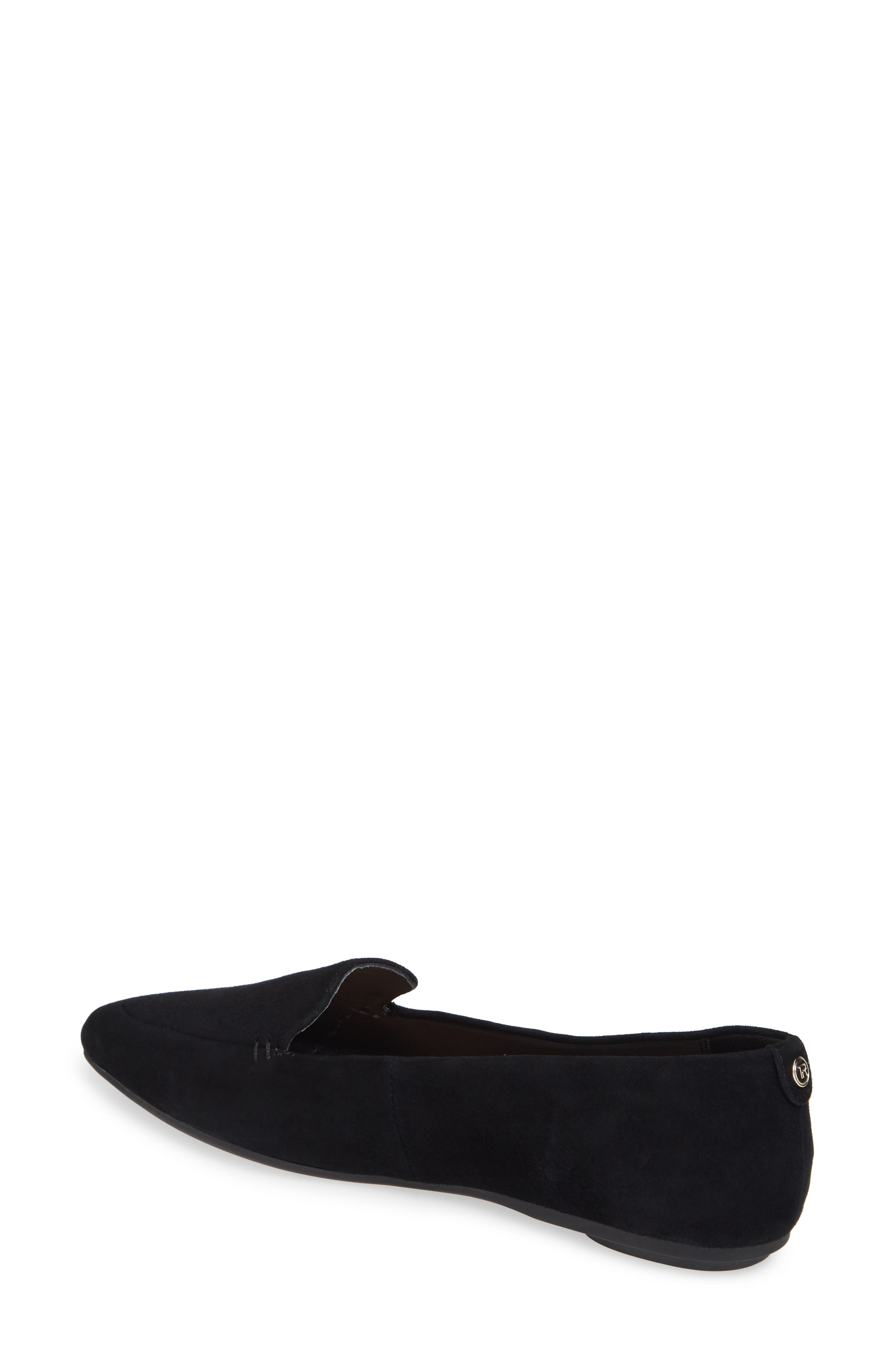 TARYN ROSE, Faye Pointy Toe Loafer, Alternate thumbnail 2, color, BLACK/ BLACK SUEDE