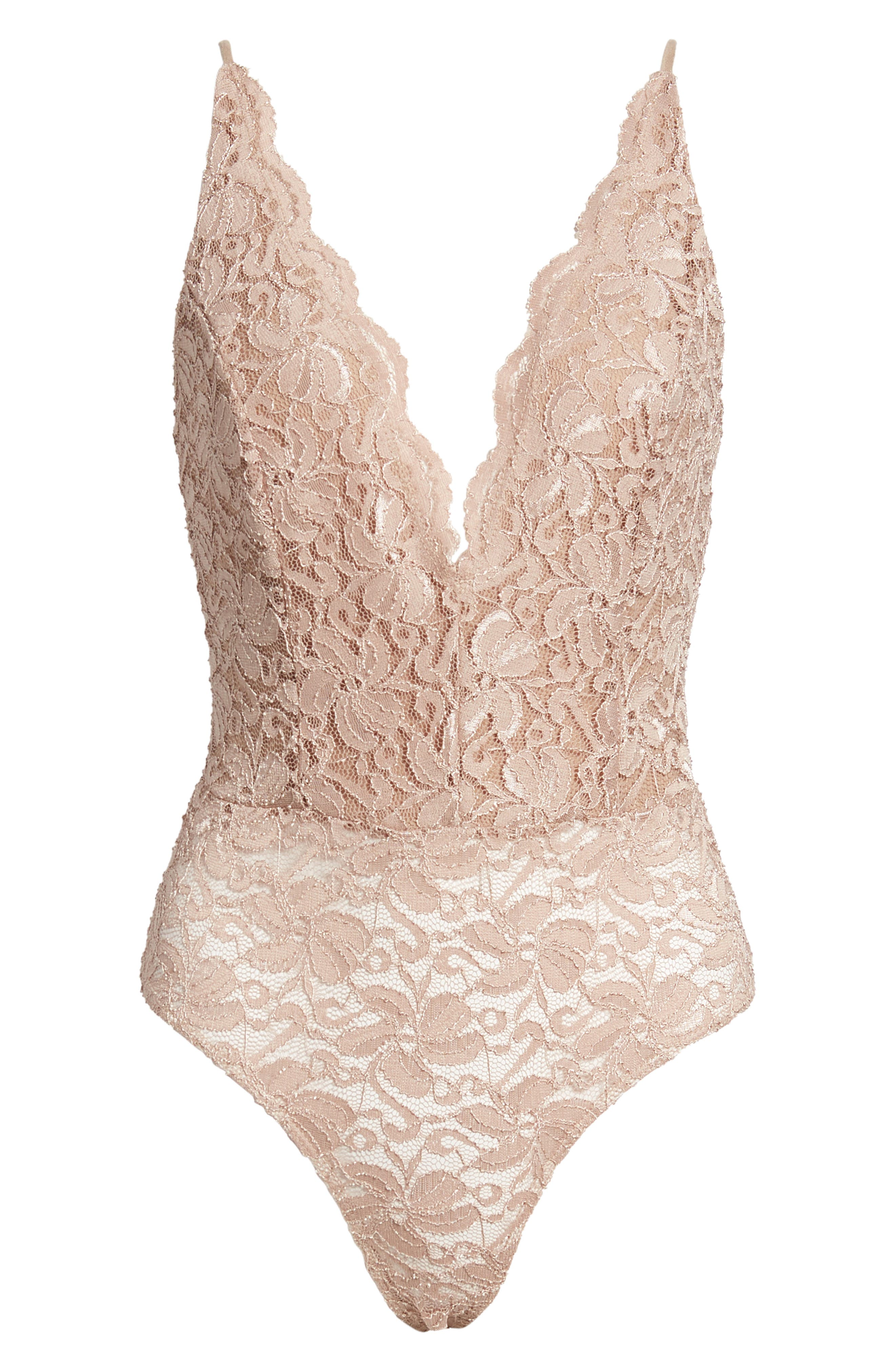 LEITH, Plunge Neck Sleeveless Lace Bodysuit, Alternate thumbnail 6, color, TAN DALE