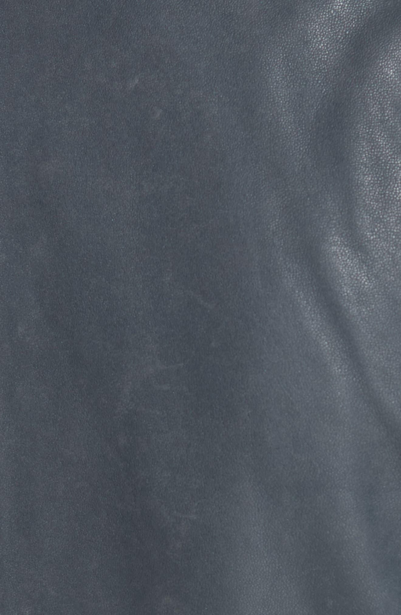 IRO, 'Ashville' Leather Jacket, Alternate thumbnail 7, color, GREY DENIM