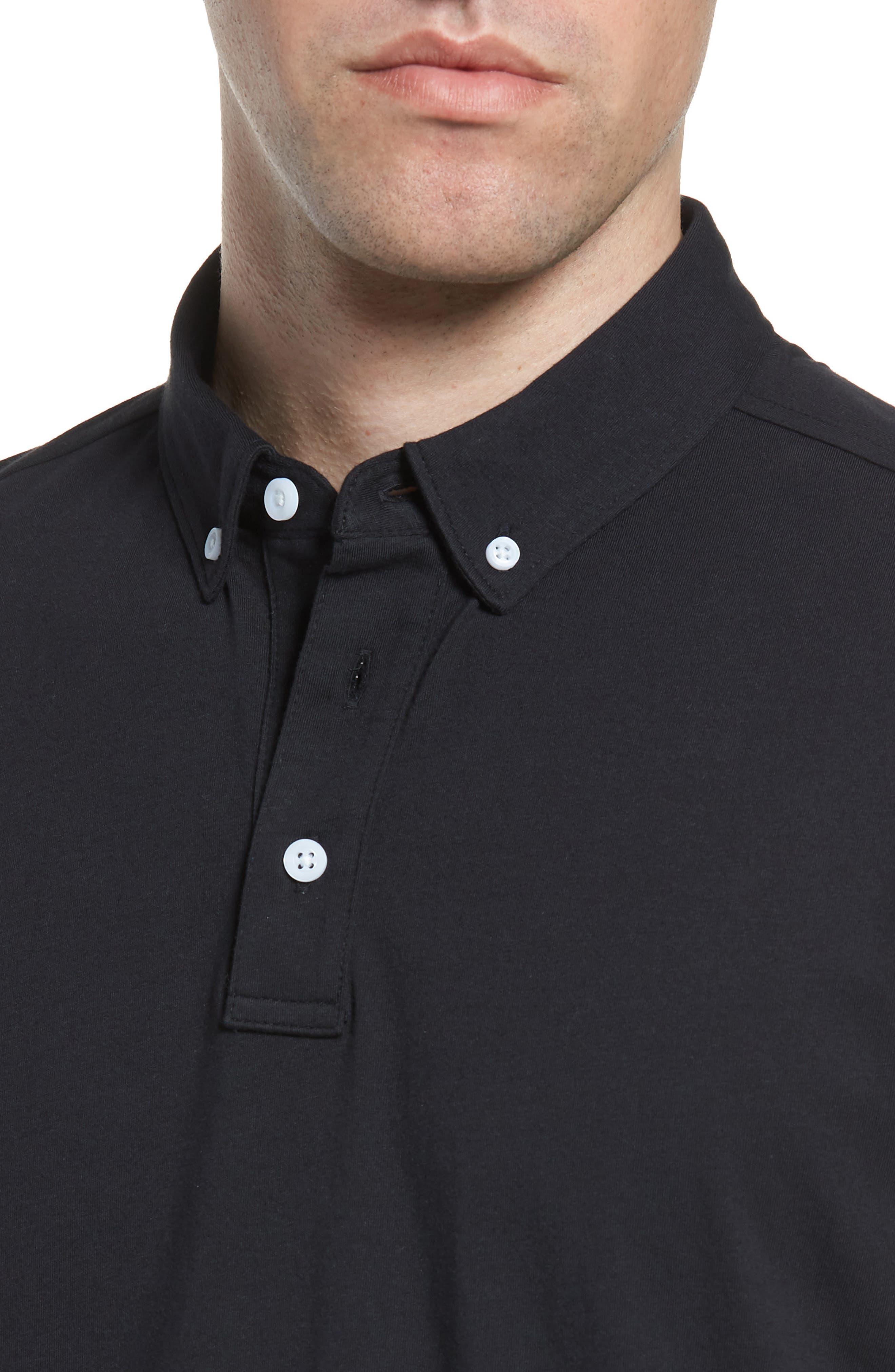 NORDSTROM MEN'S SHOP, Regular Fit Polo, Alternate thumbnail 4, color, BLACK