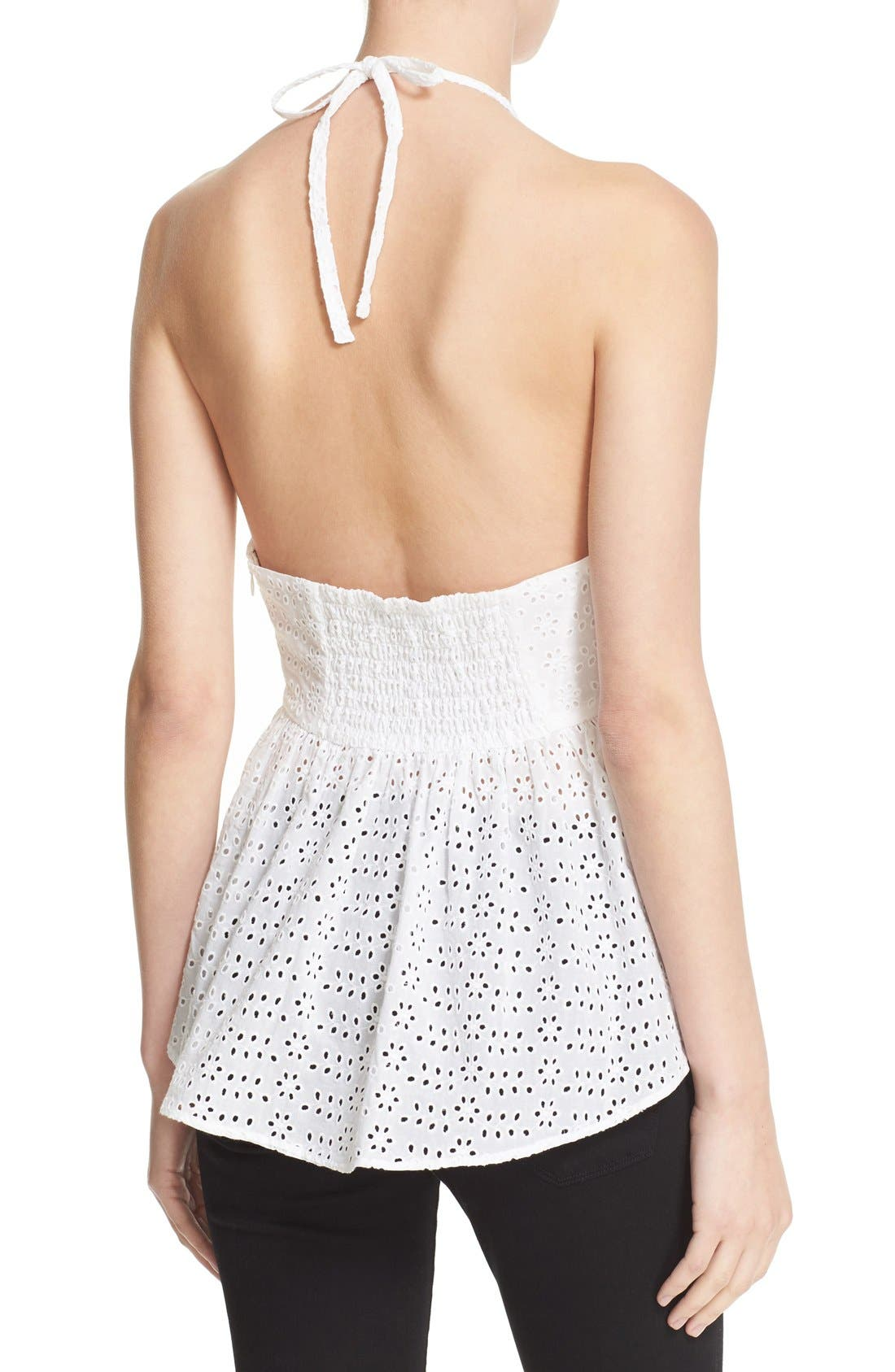 ELIZABETH AND JAMES, 'Perth' Eyelet Peplum Halter Top, Alternate thumbnail 2, color, 100