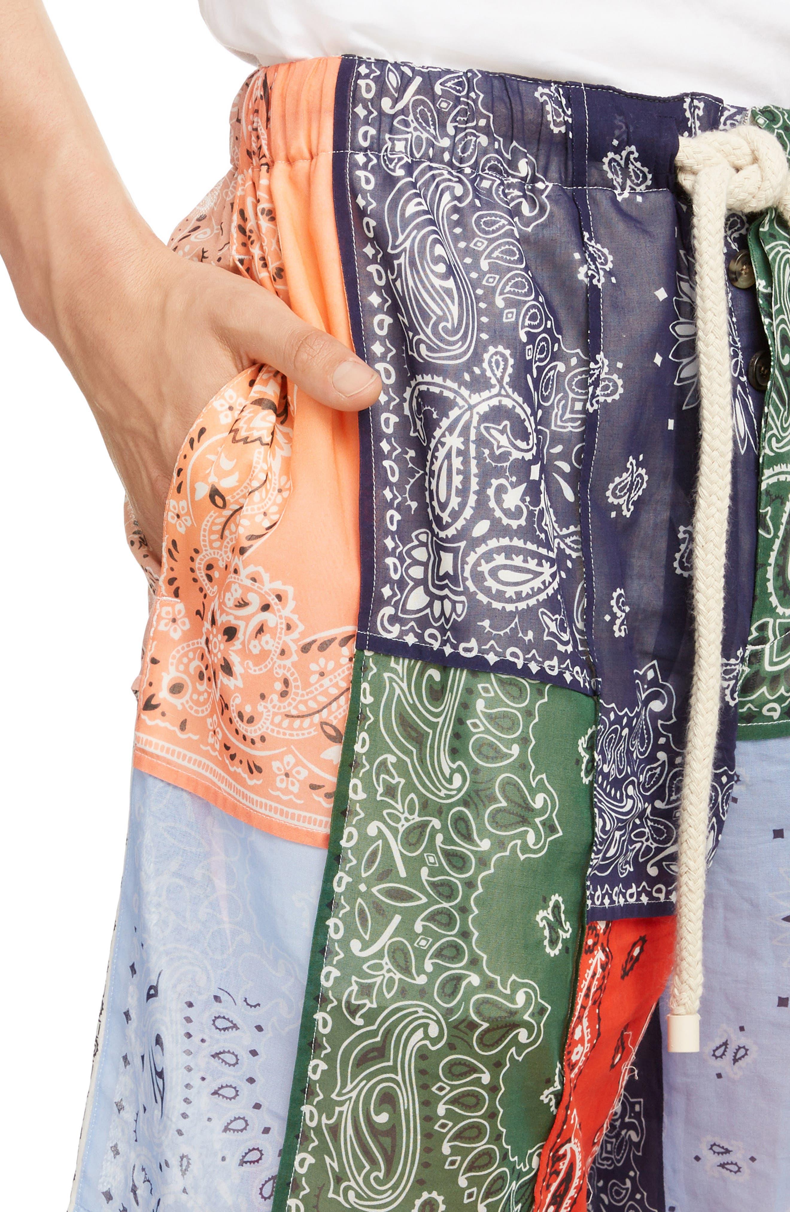 LOEWE, Bandana Patchwork Shorts, Alternate thumbnail 4, color, 9990-MULTICOLOR