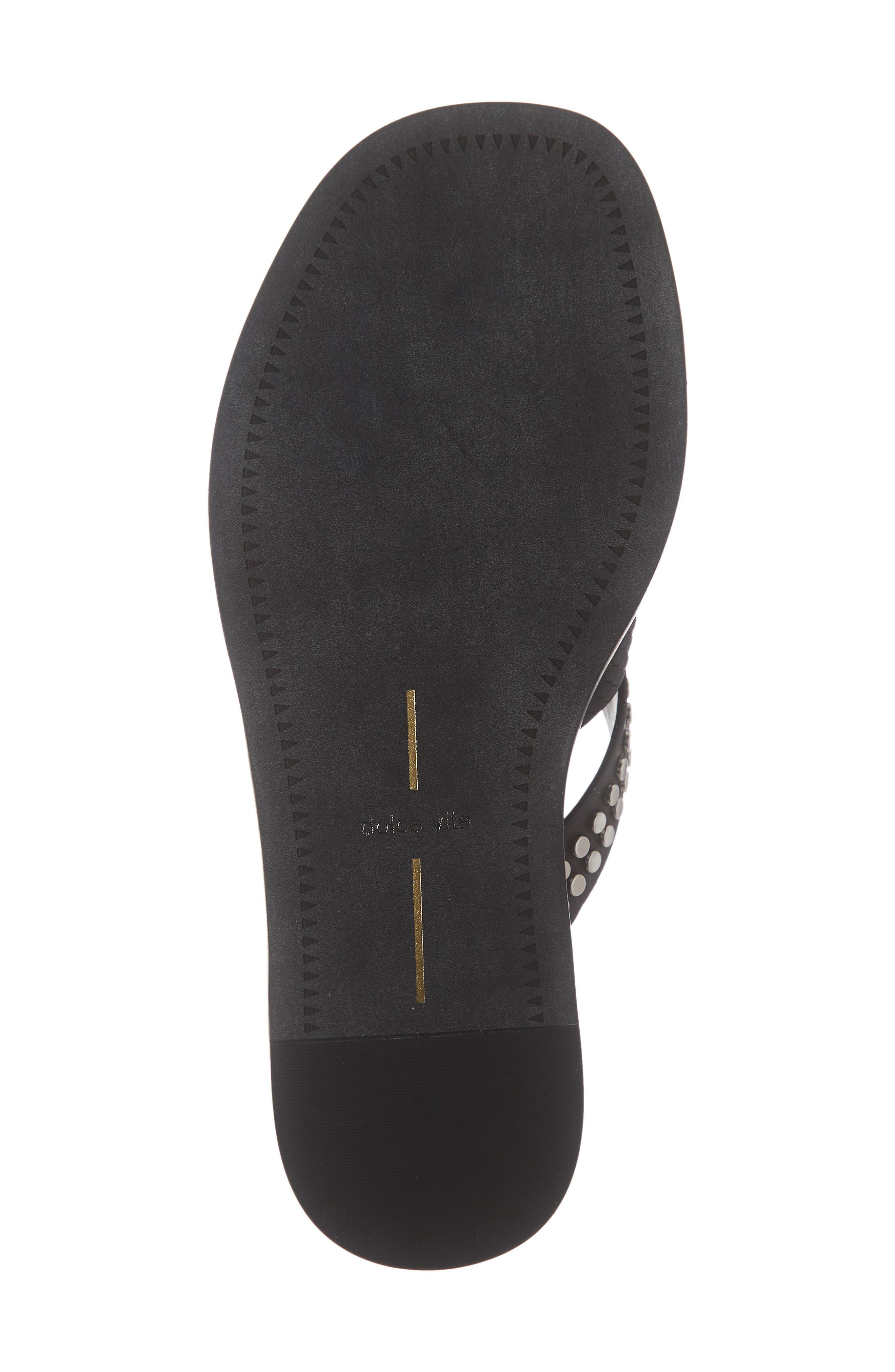 DOLCE VITA, Corbey Studded Slide Sandal, Alternate thumbnail 6, color, BLACK LEATHER