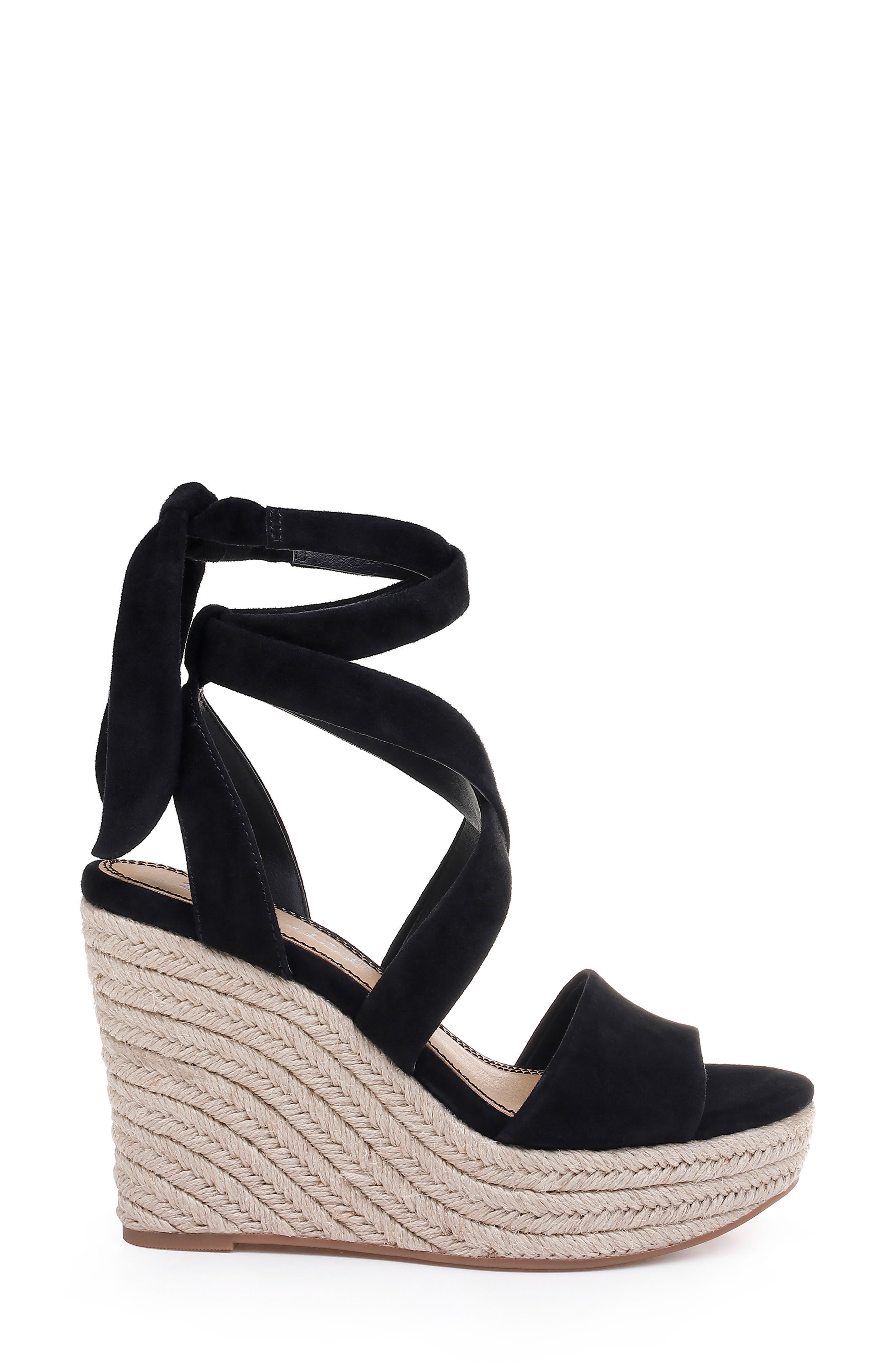 SPLENDID, Tessie Ankle Wrap Wedge Sandal, Alternate thumbnail 3, color, BLACK SUEDE