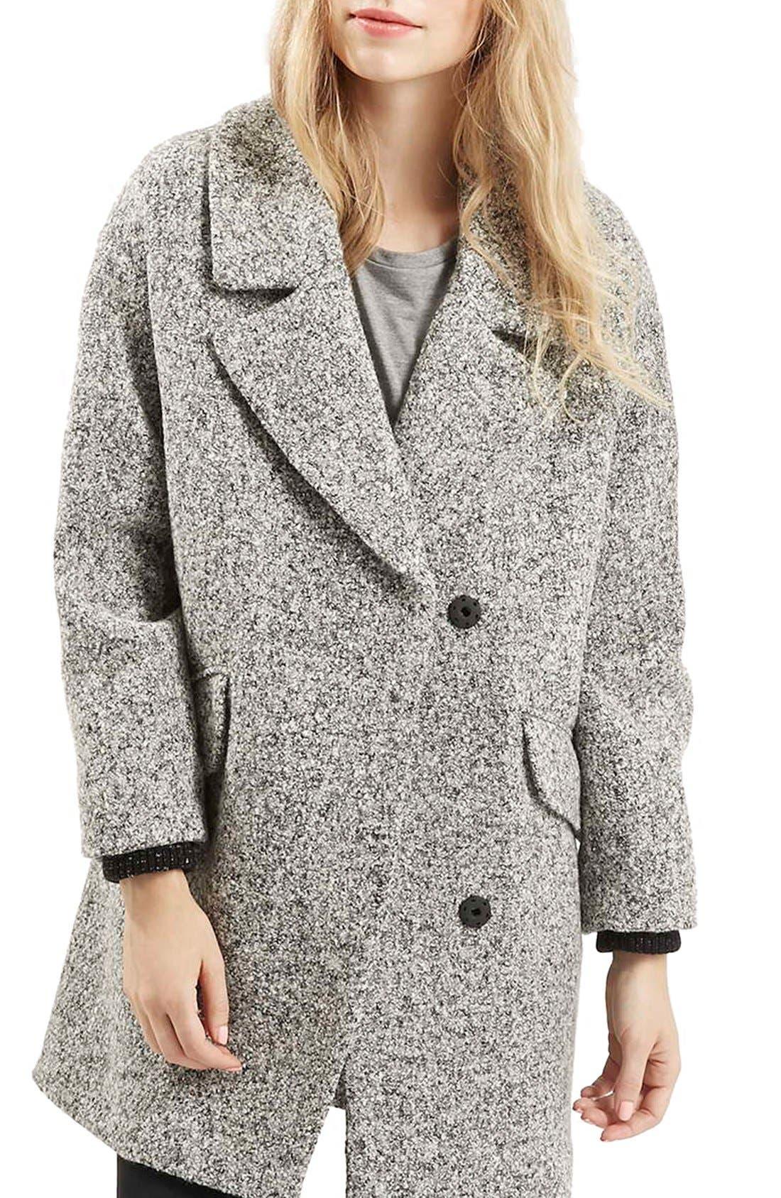 TOPSHOP, 'Amelia' Slouch Coat, Main thumbnail 1, color, 020