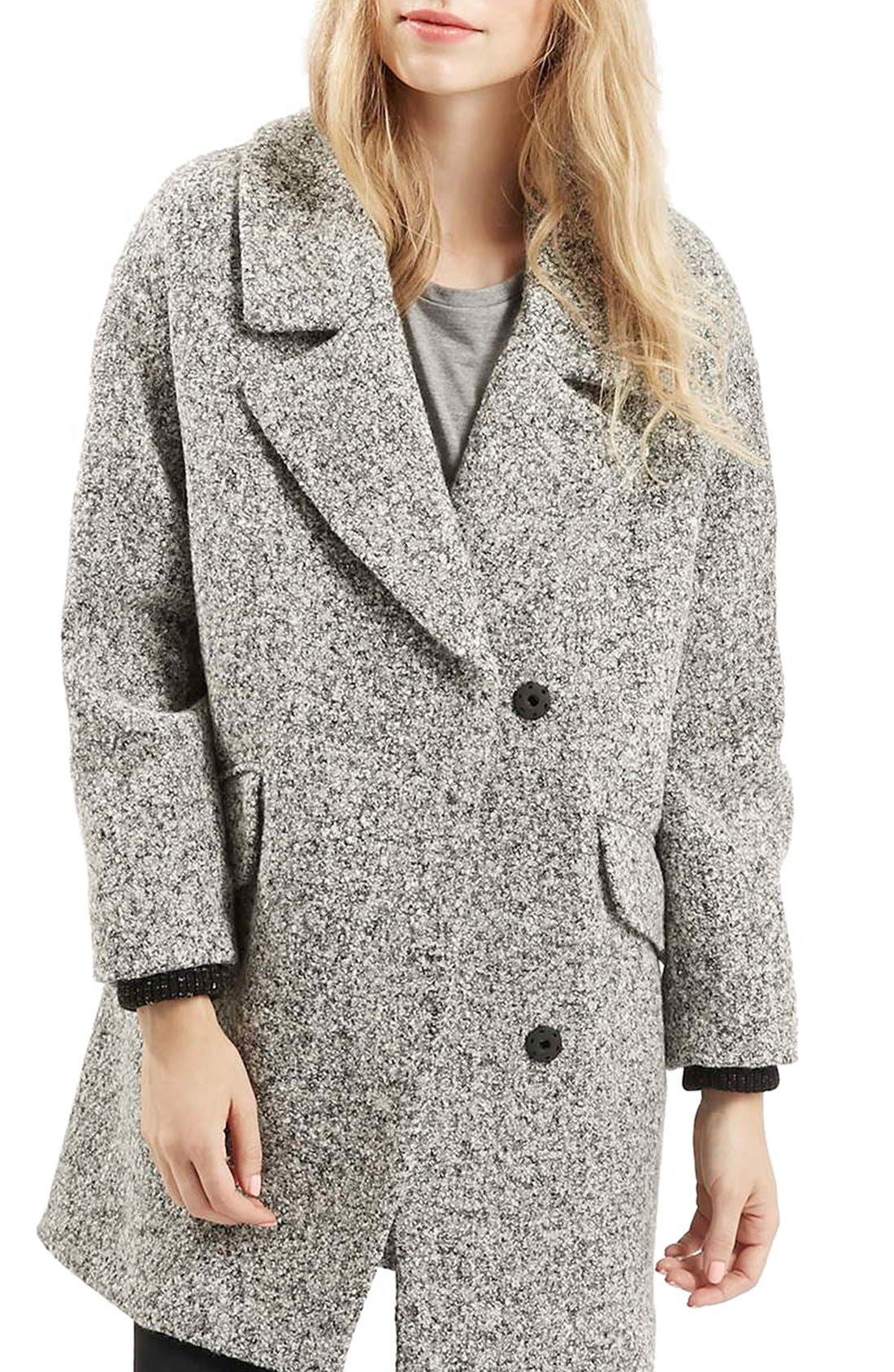 TOPSHOP 'Amelia' Slouch Coat, Main, color, 020