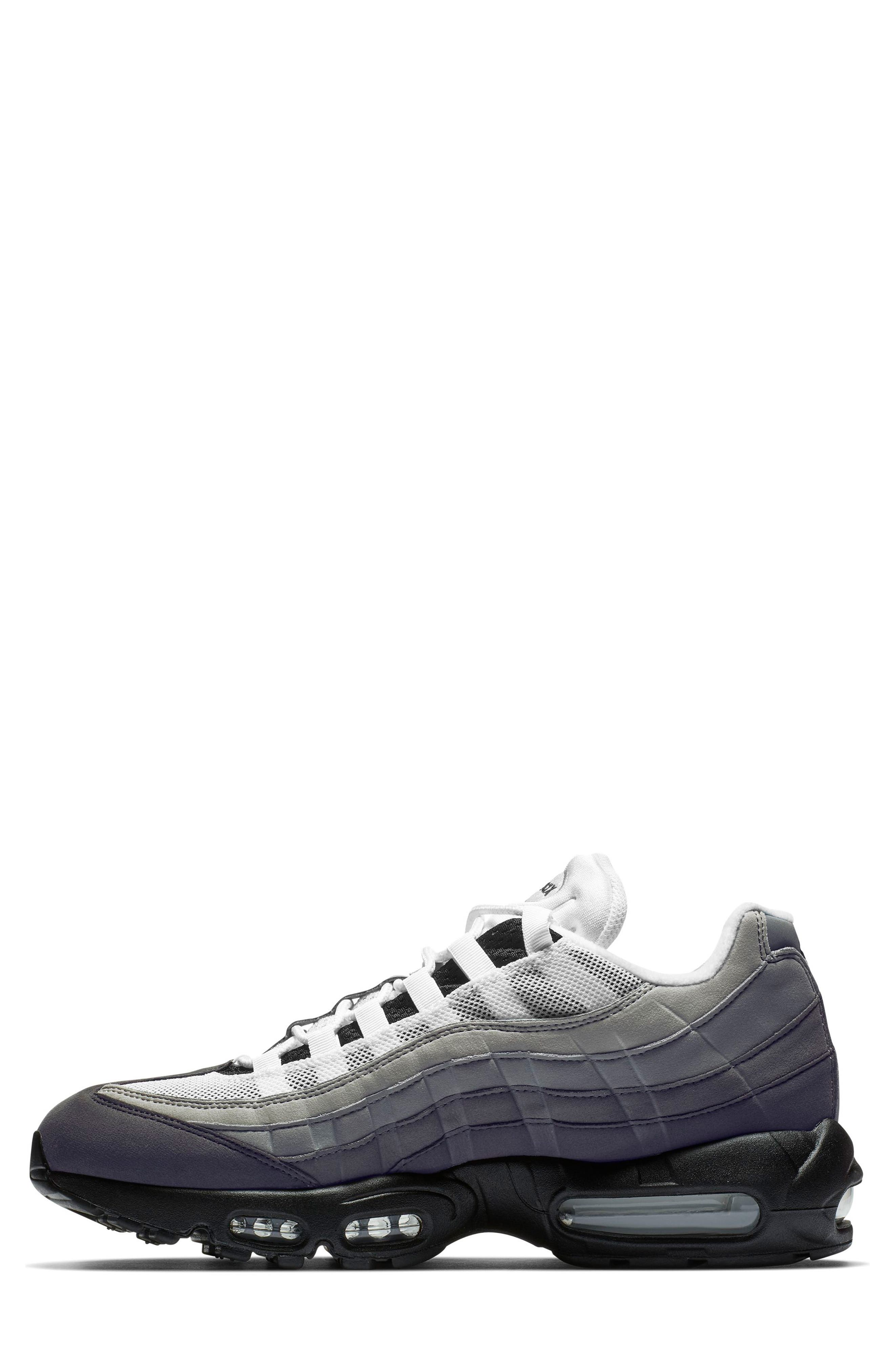NIKE, Air Max 95 OG Sneaker, Alternate thumbnail 3, color, BLACK/ WHITE/ GRANITE/ DUST