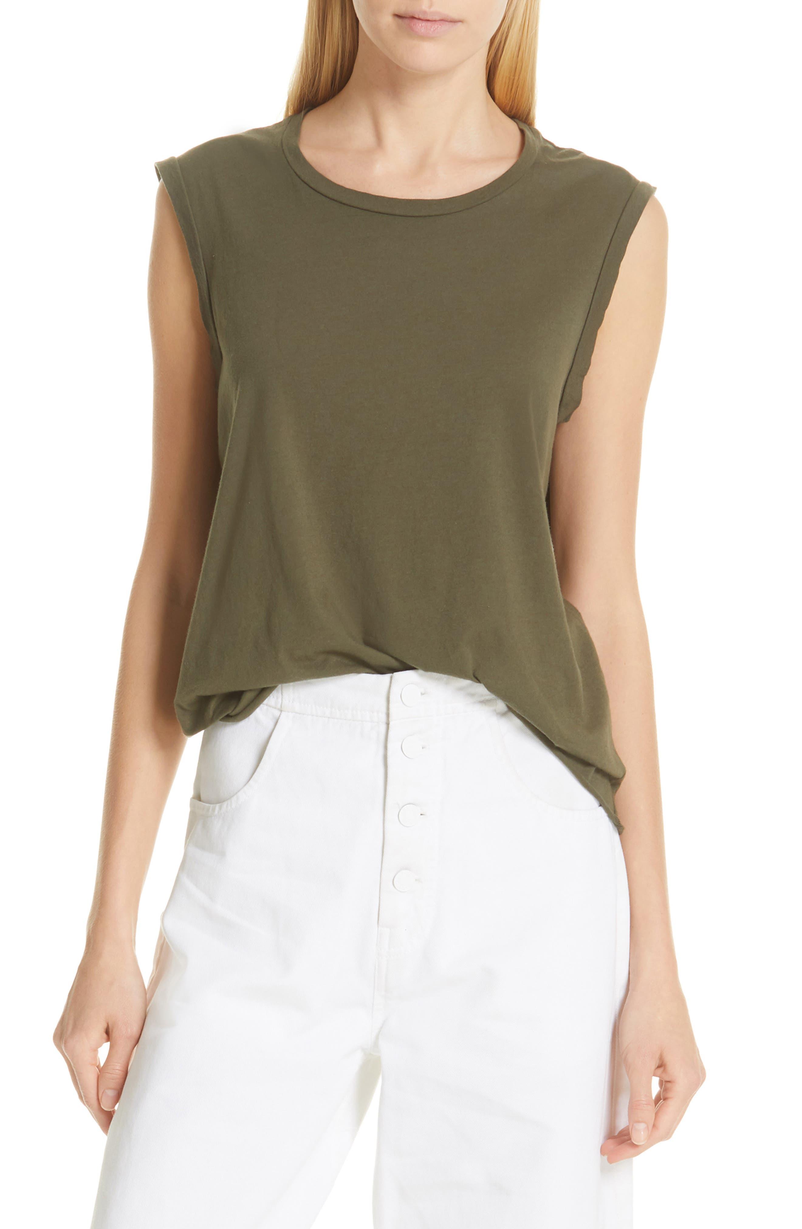 NILI LOTAN Cotton Muscle Tee, Main, color, ARMY GREEN