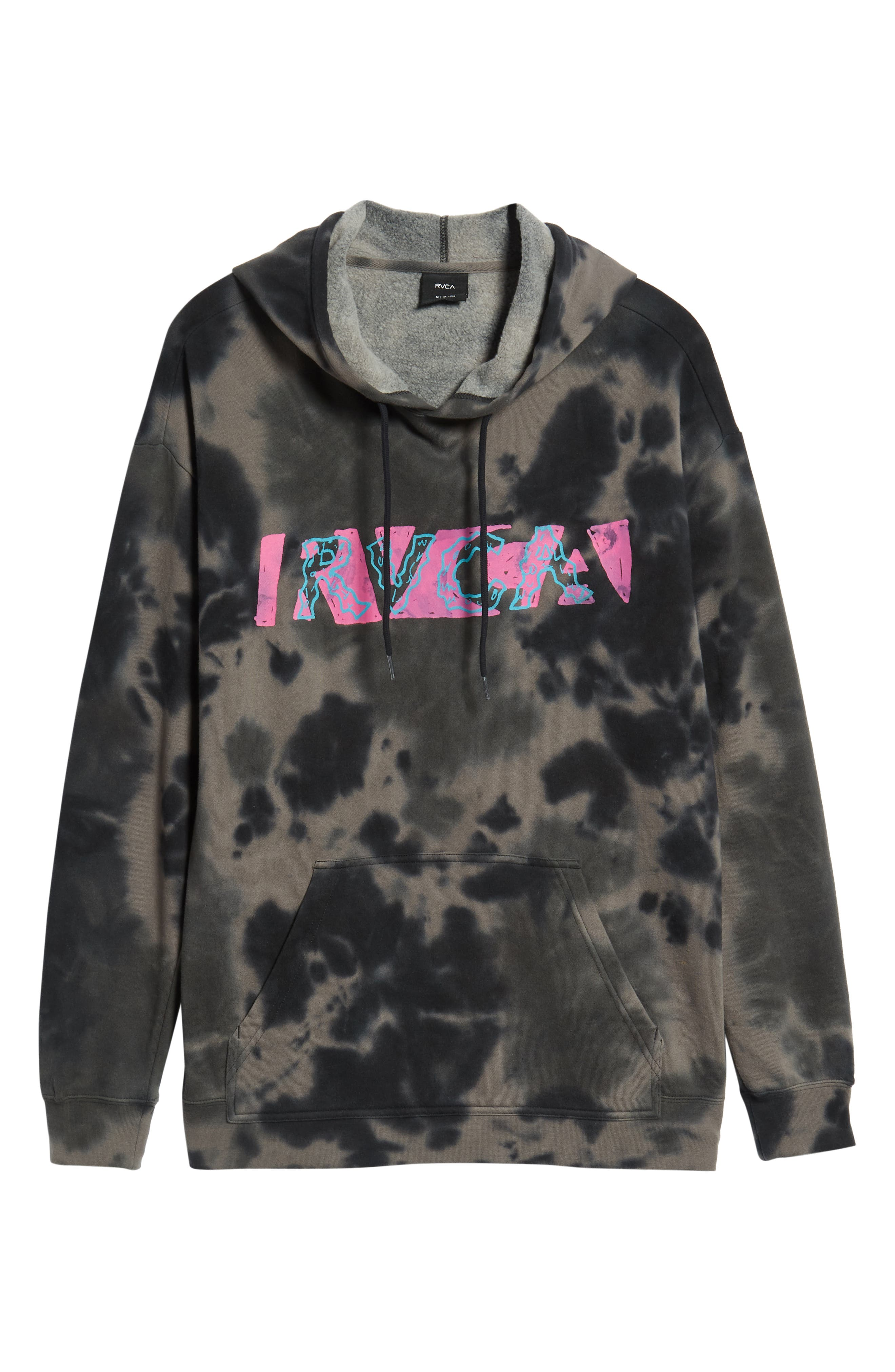 RVCA, Spatter Dyed Pullover Hoodie, Alternate thumbnail 6, color, BLACK