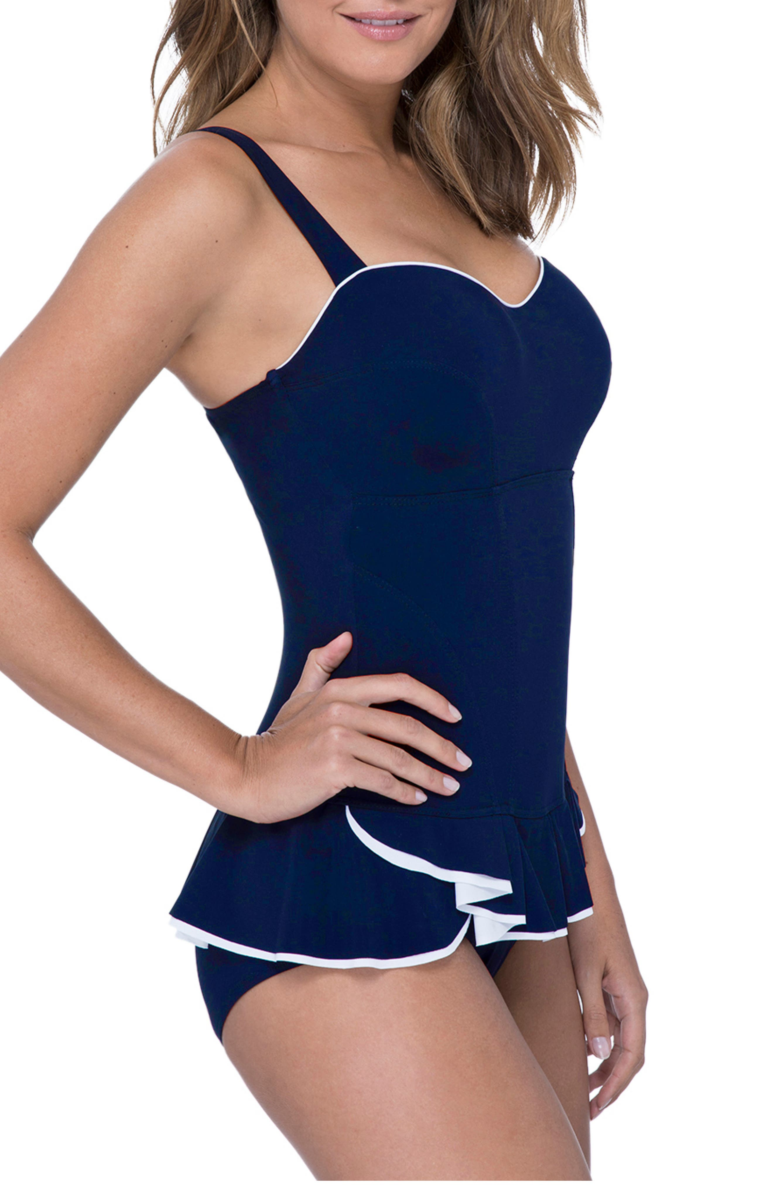 PROFILE BY GOTTEX, Belle Curve Peplum Underwire Swim Dress, Alternate thumbnail 3, color, NAVY/ WHITE