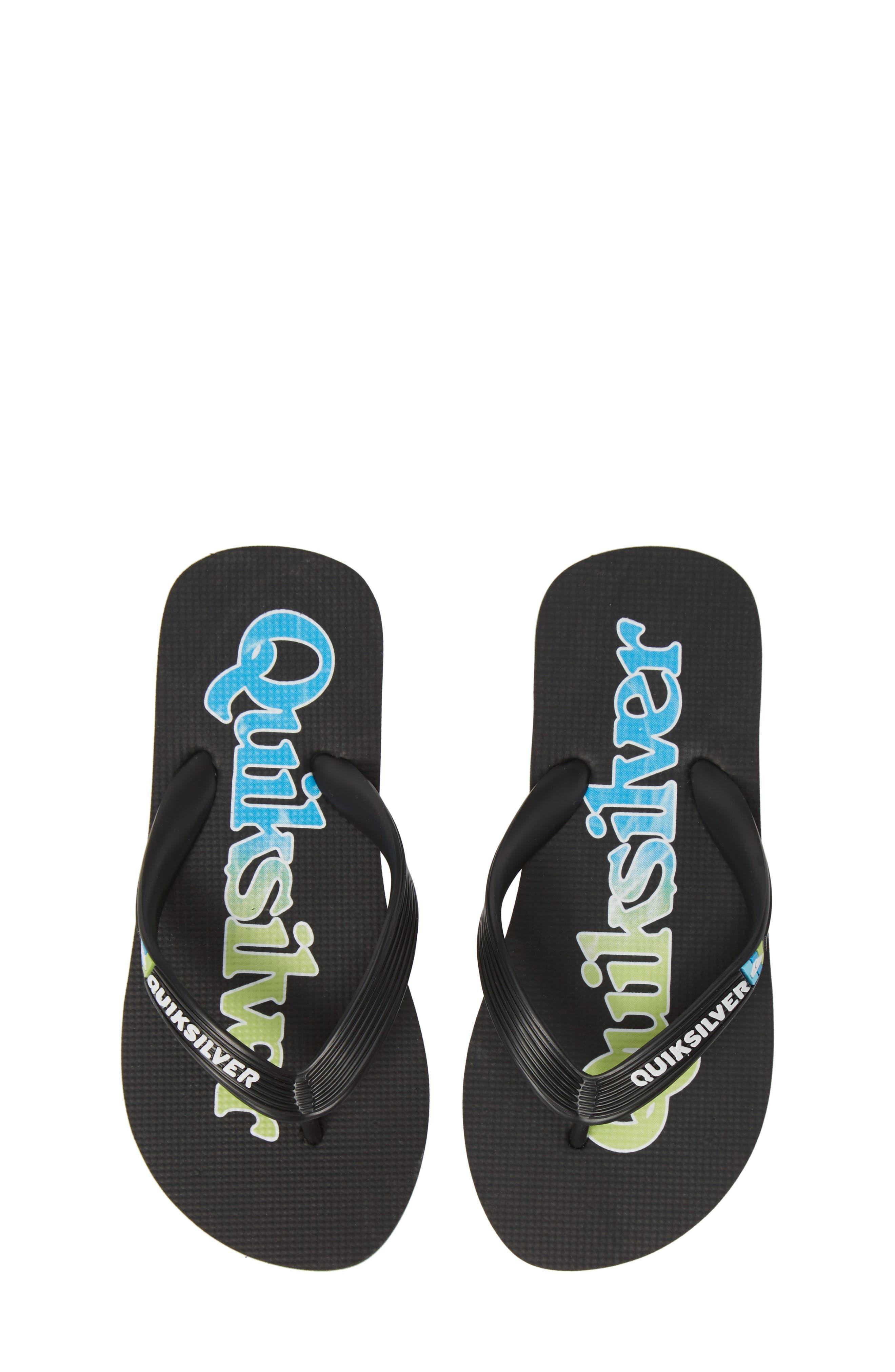 QUIKSILVER, Molokai Wordmark Flip Flop, Main thumbnail 1, color, BLACK/ GREEN/ BLUE