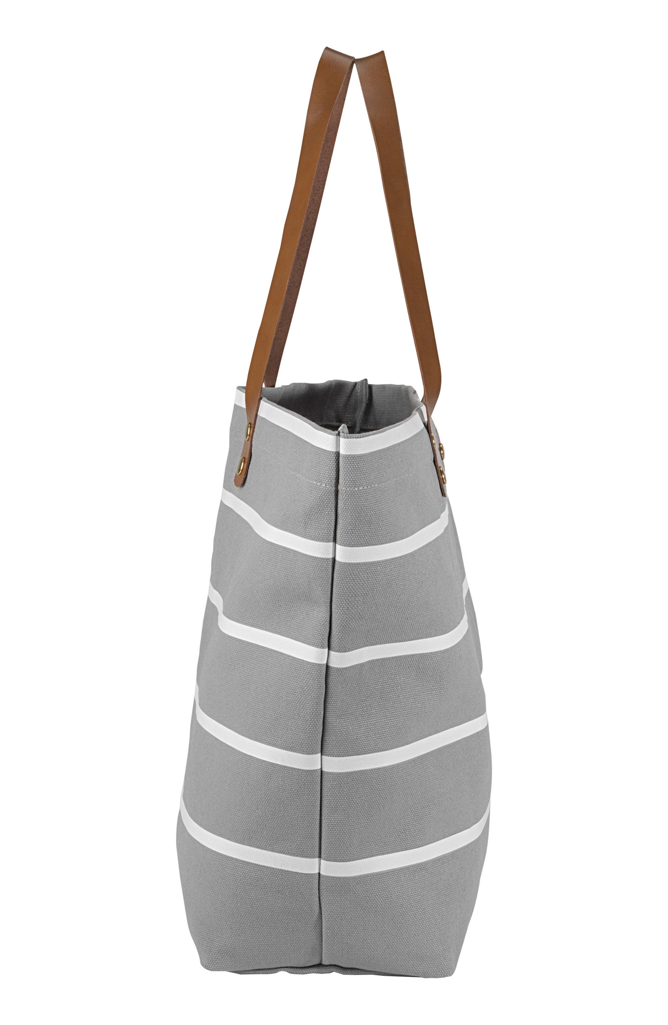 CATHY'S CONCEPTS, Monogram Large Canvas Tote, Alternate thumbnail 3, color, GREY