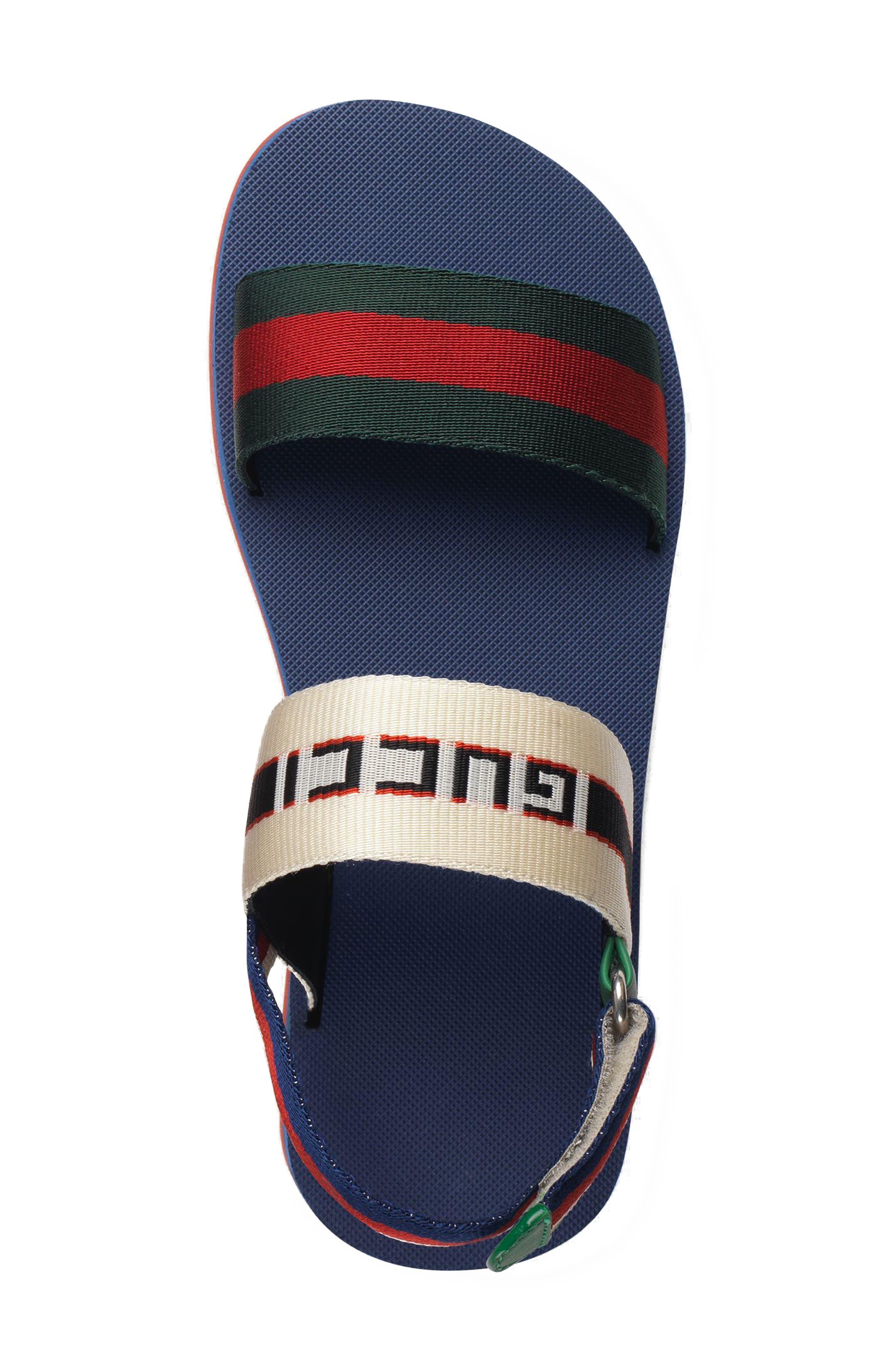 GUCCI, Bedlam Slingback Flatform Sandal, Alternate thumbnail 3, color, BLUE/ RED