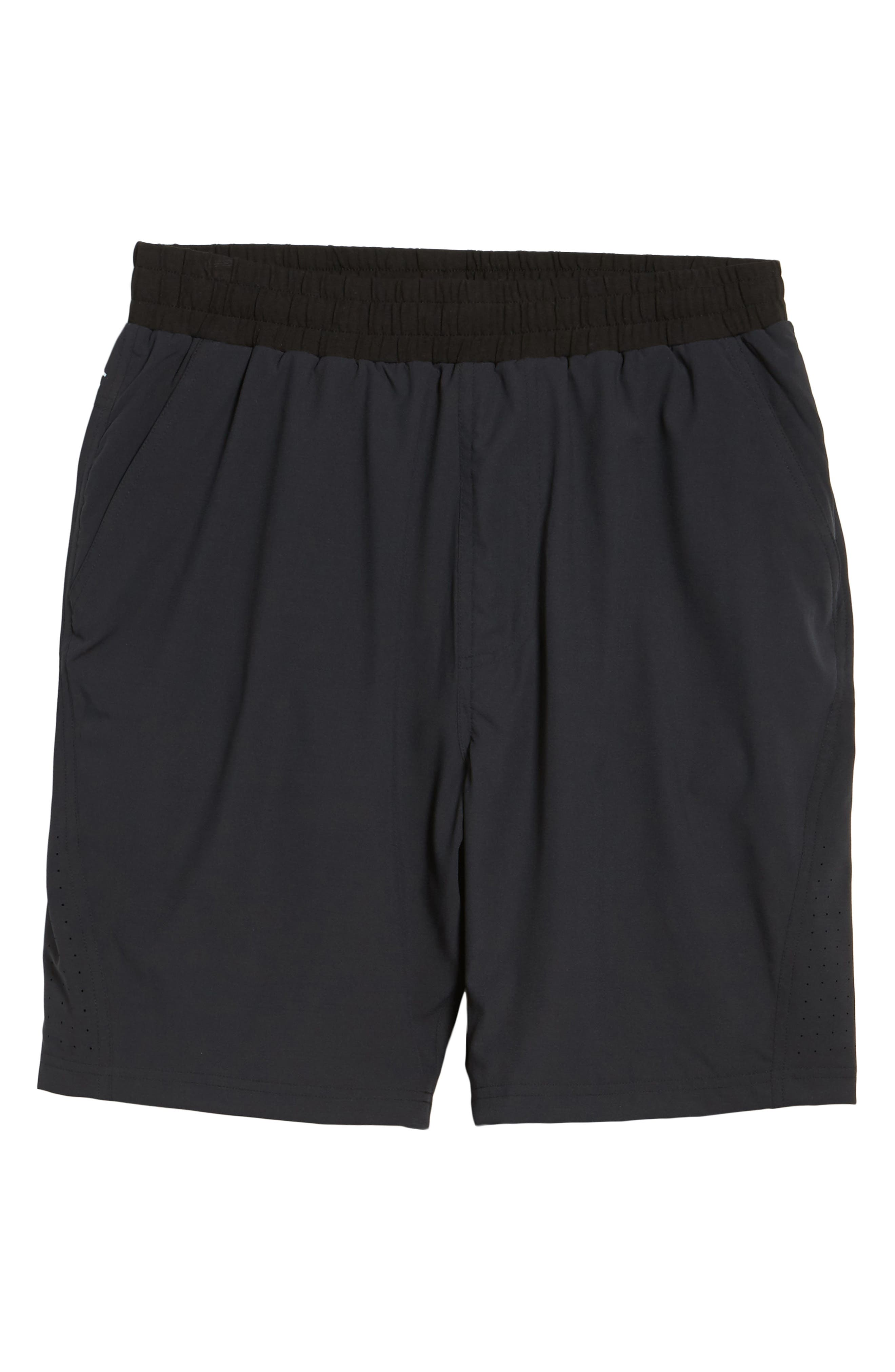 TASC PERFORMANCE, Charge Water Resistant Athletic Shorts, Alternate thumbnail 7, color, BLACK