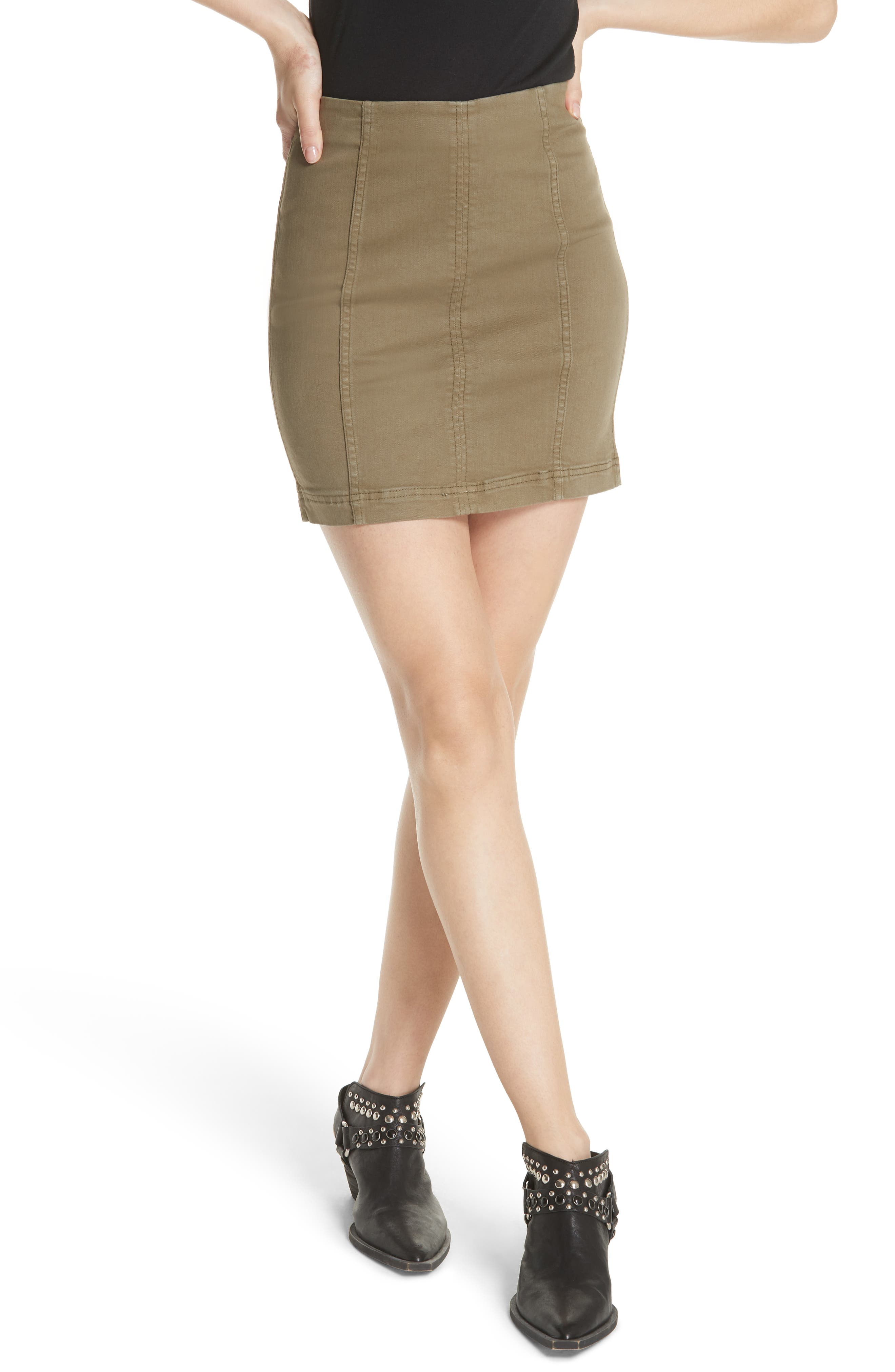 FREE PEOPLE We the Free by Free People Modern Miniskirt, Main, color, ARMY