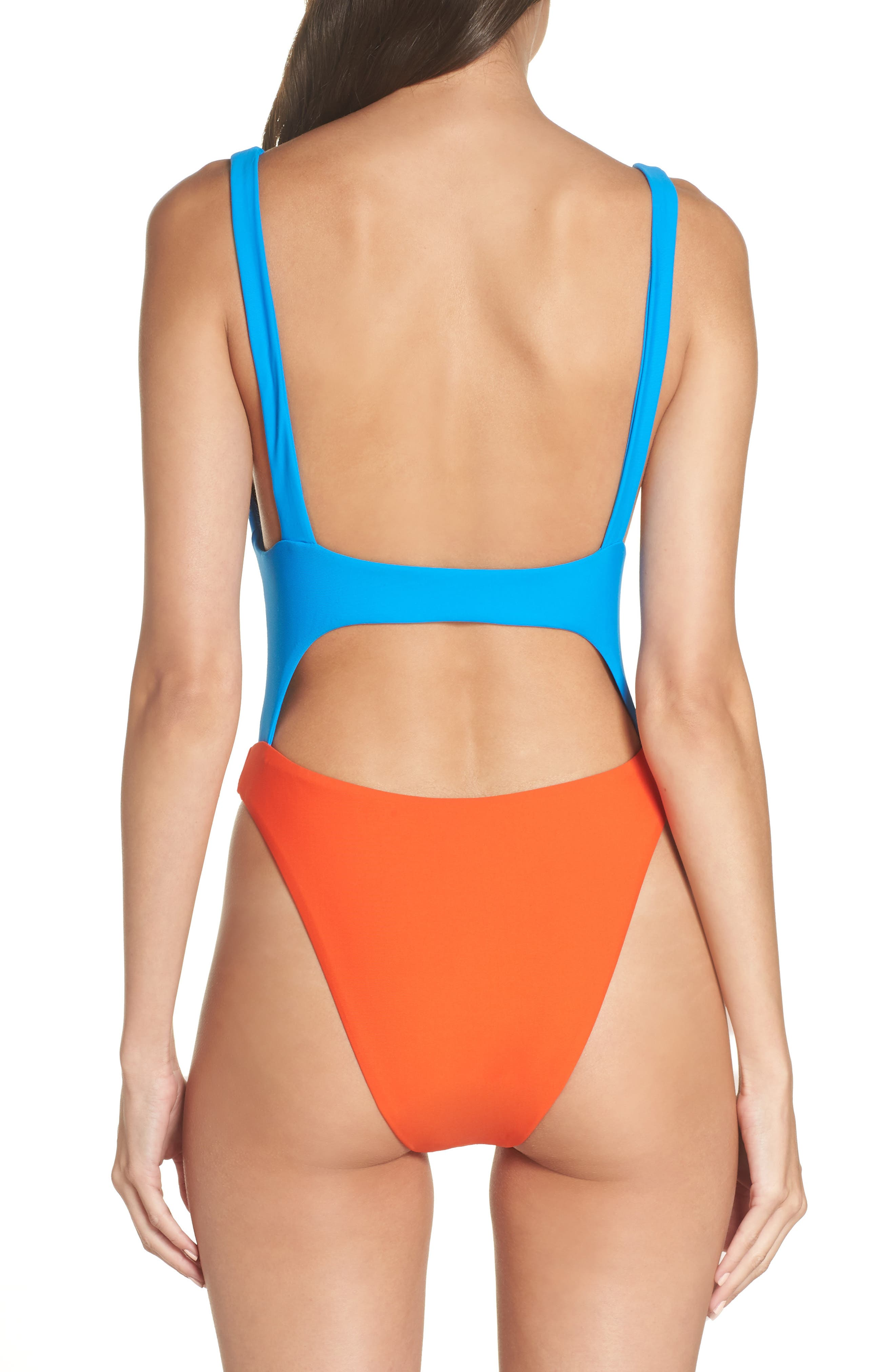 LEITH, Colorblock One-Piece Swimsuit, Alternate thumbnail 2, color, 420