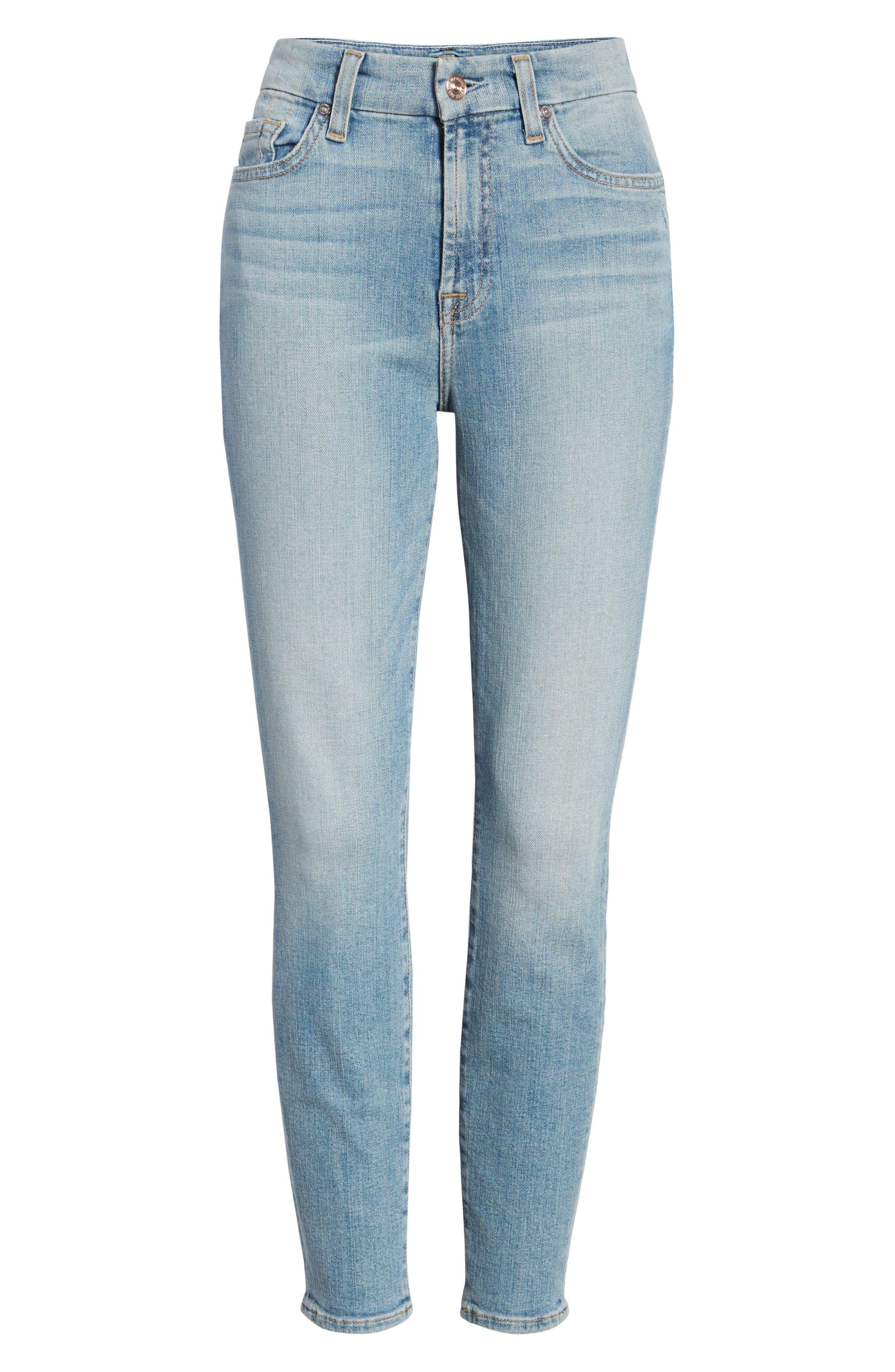 7 FOR ALL MANKIND<SUP>®</SUP>, The High Waist Ankle Skinny Jeans, Alternate thumbnail 7, color, SANDED LIGHT