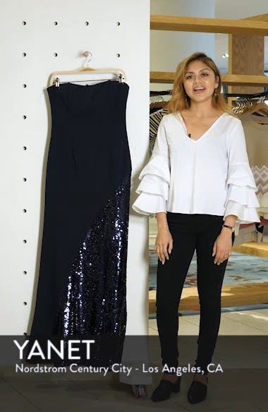 Crepe & Sequin Embellished Strapless Evening Dress, sales video thumbnail