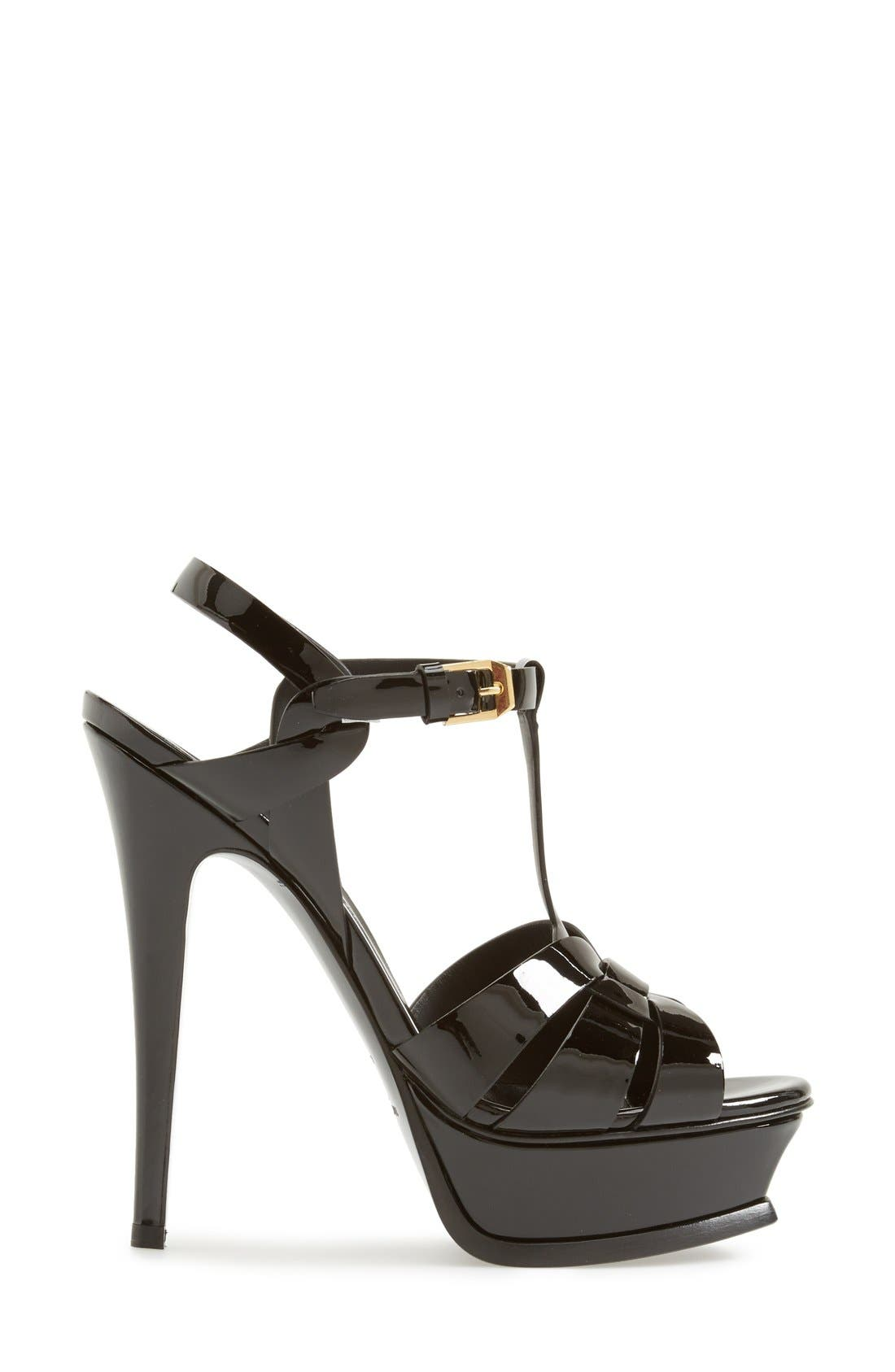 SAINT LAURENT, Tribute T-Strap Platform Sandal, Alternate thumbnail 3, color, BLACK PATENT