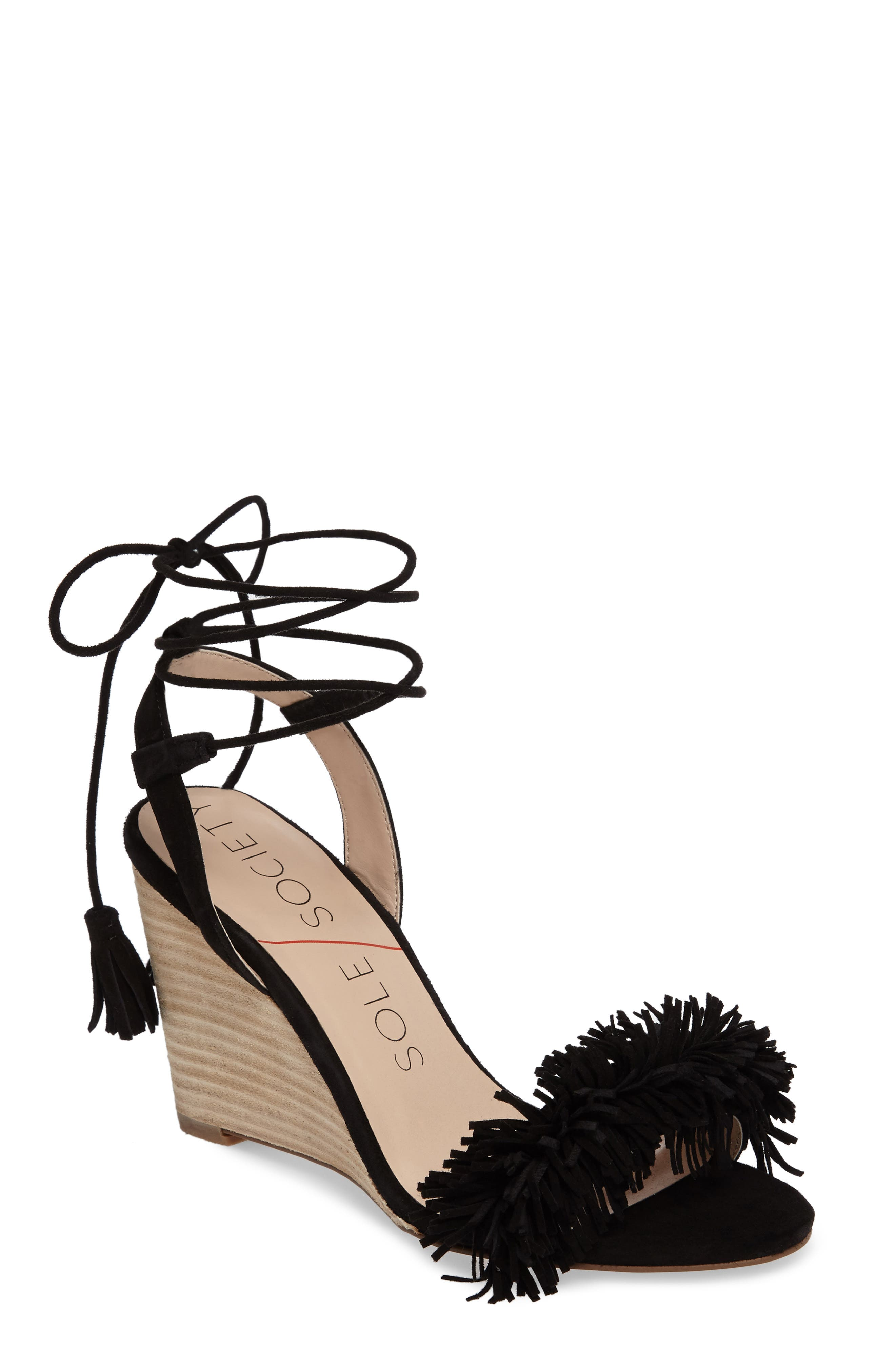 SOLE SOCIETY Rosea Ankle Wrap Sandal, Main, color, 001