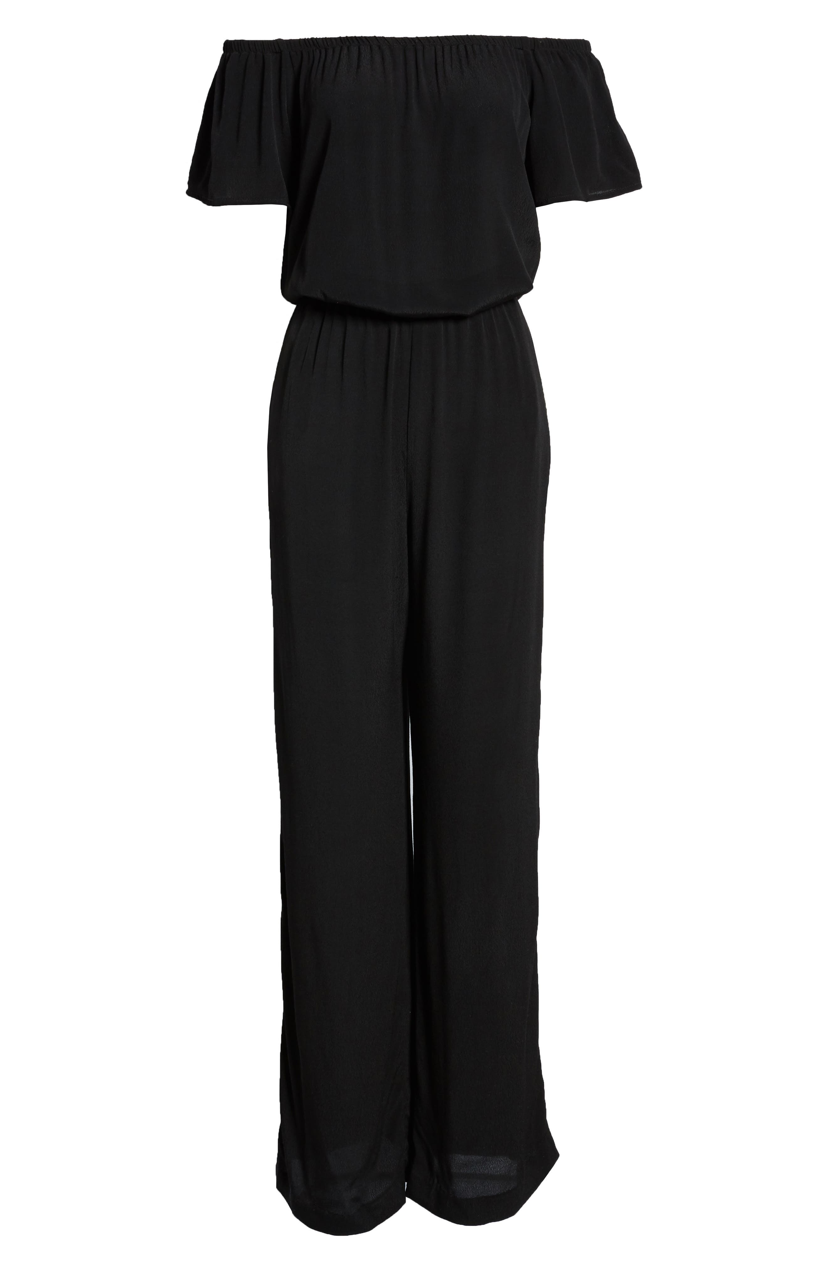 CHARLES HENRY, Off the Shoulder Wide Leg Jumpsuit, Alternate thumbnail 2, color, BLACK