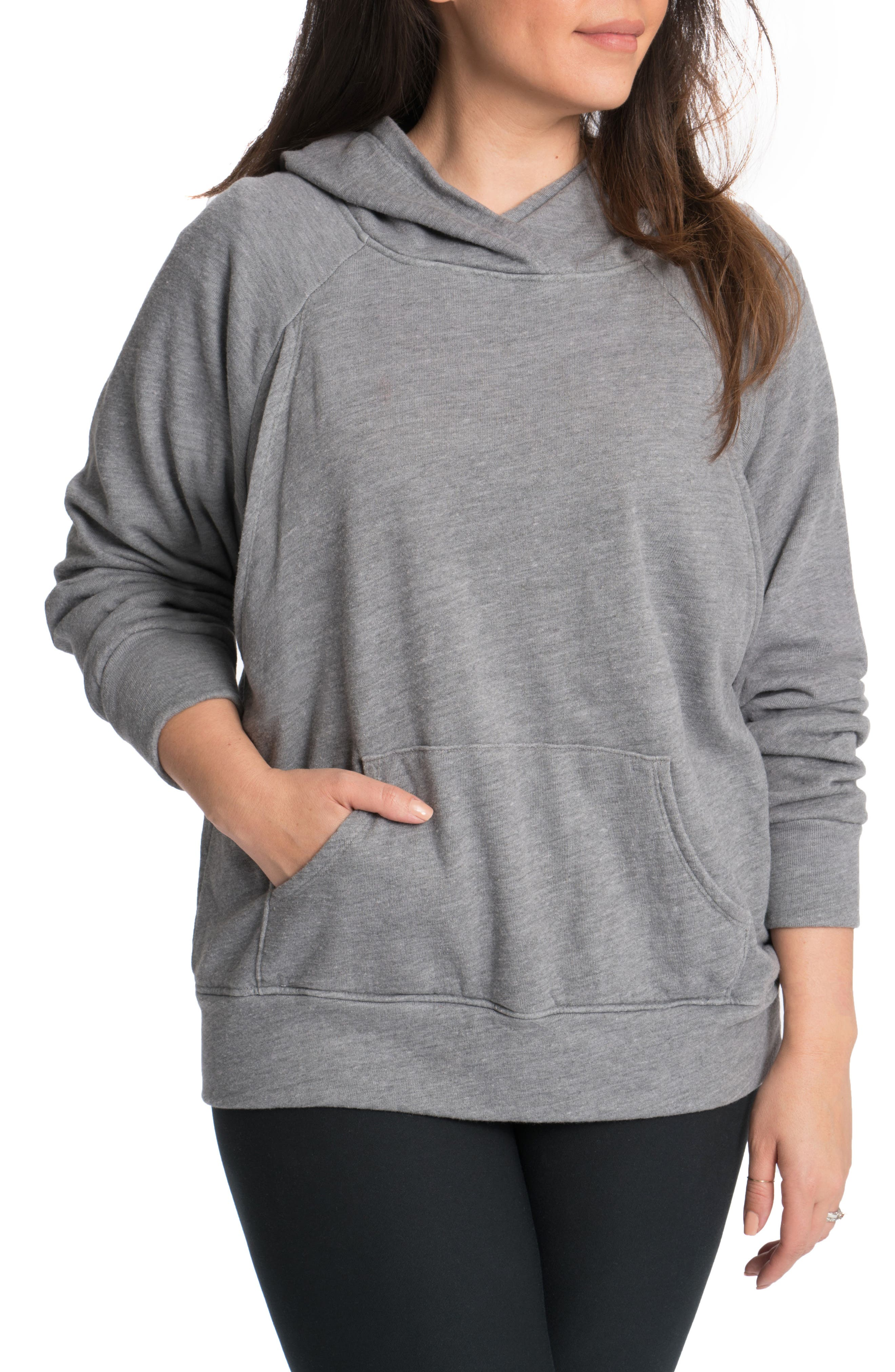BUN MATERNITY Relaxed Daily Maternity Nursing Hoodie, Main, color, HEATHER GREY