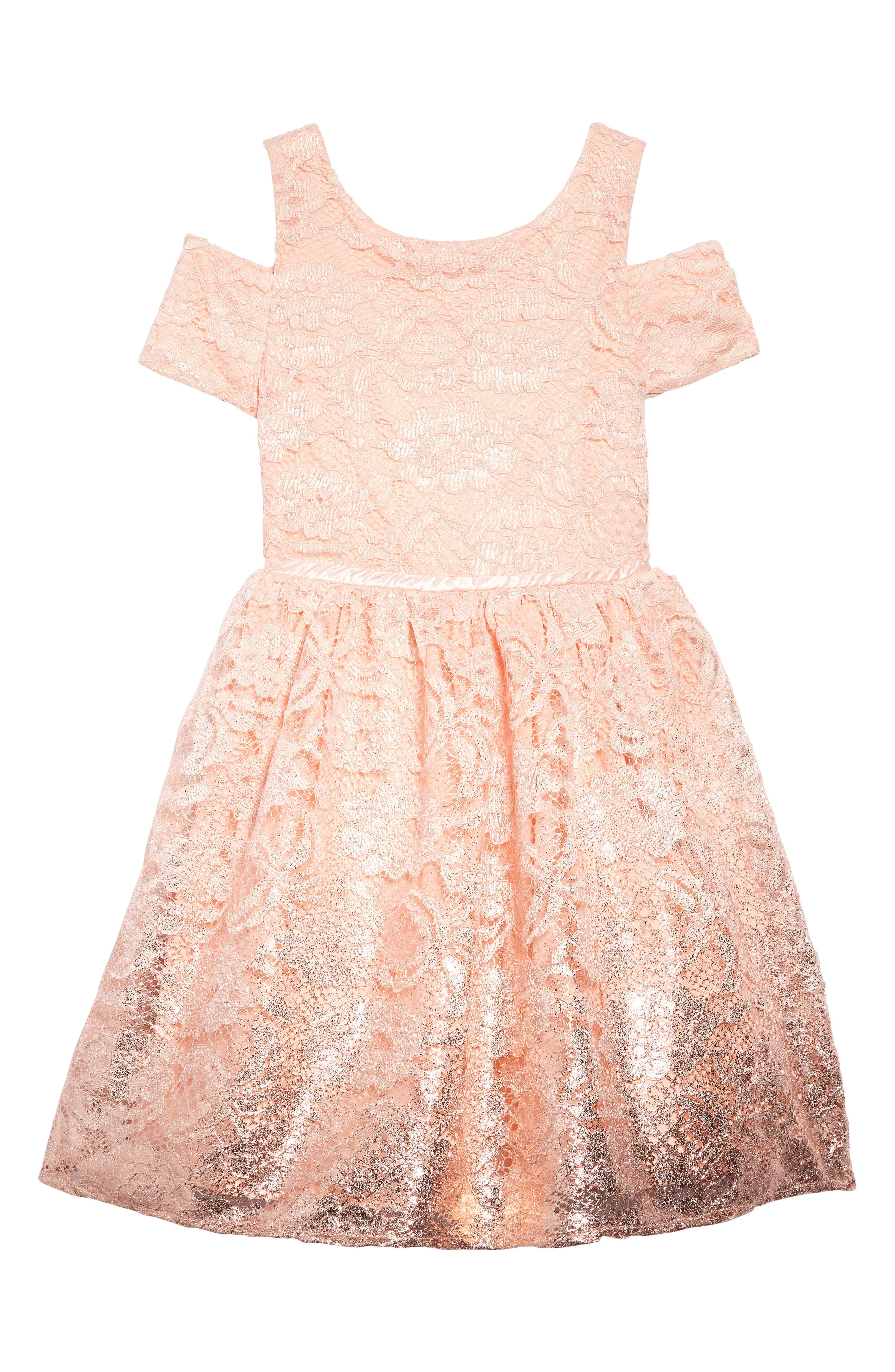 BLUSH BY US ANGELS Foiled Lace Dress, Main, color, BLUSH