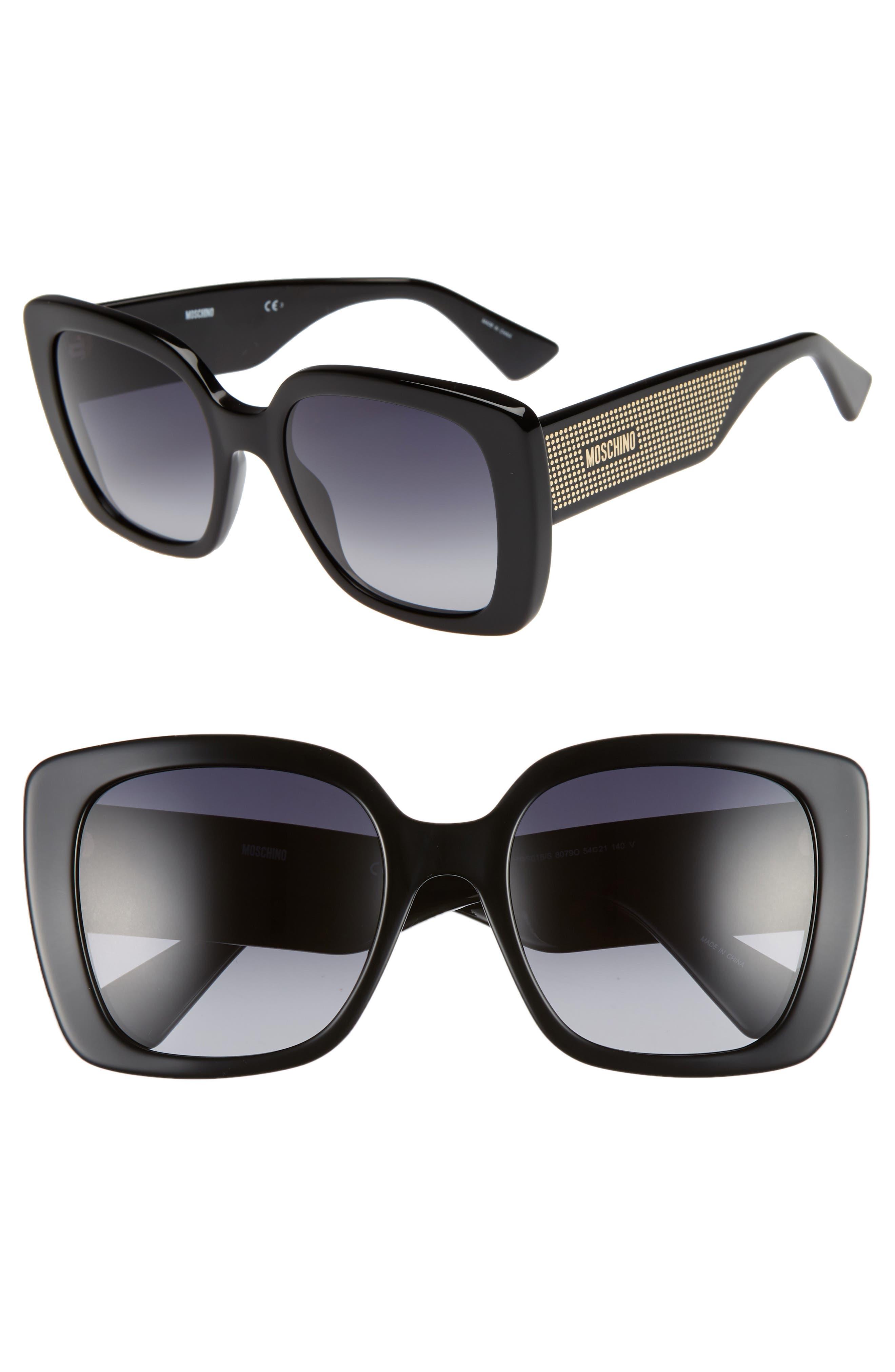 MOSCHINO, 54mm Square Sunglasses, Main thumbnail 1, color, BLACK