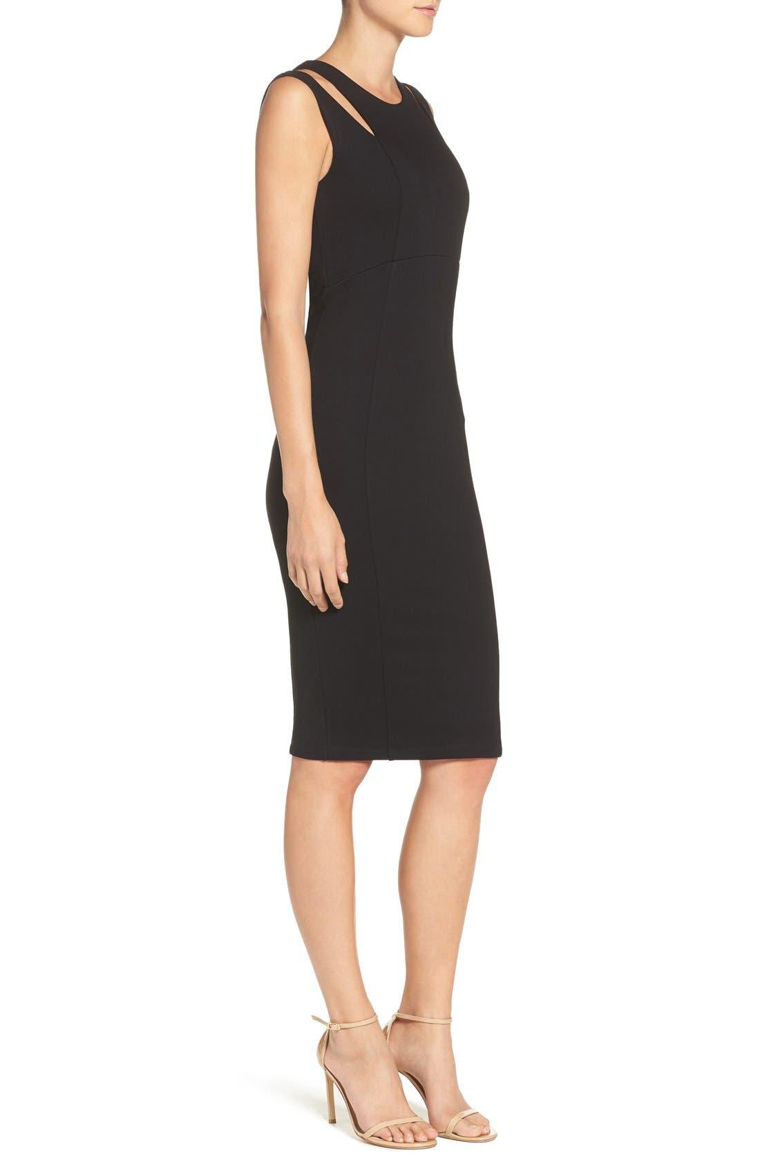 FELICITY & COCO, Shoulder Detail Ponte Sheath Dress, Alternate thumbnail 5, color, 001