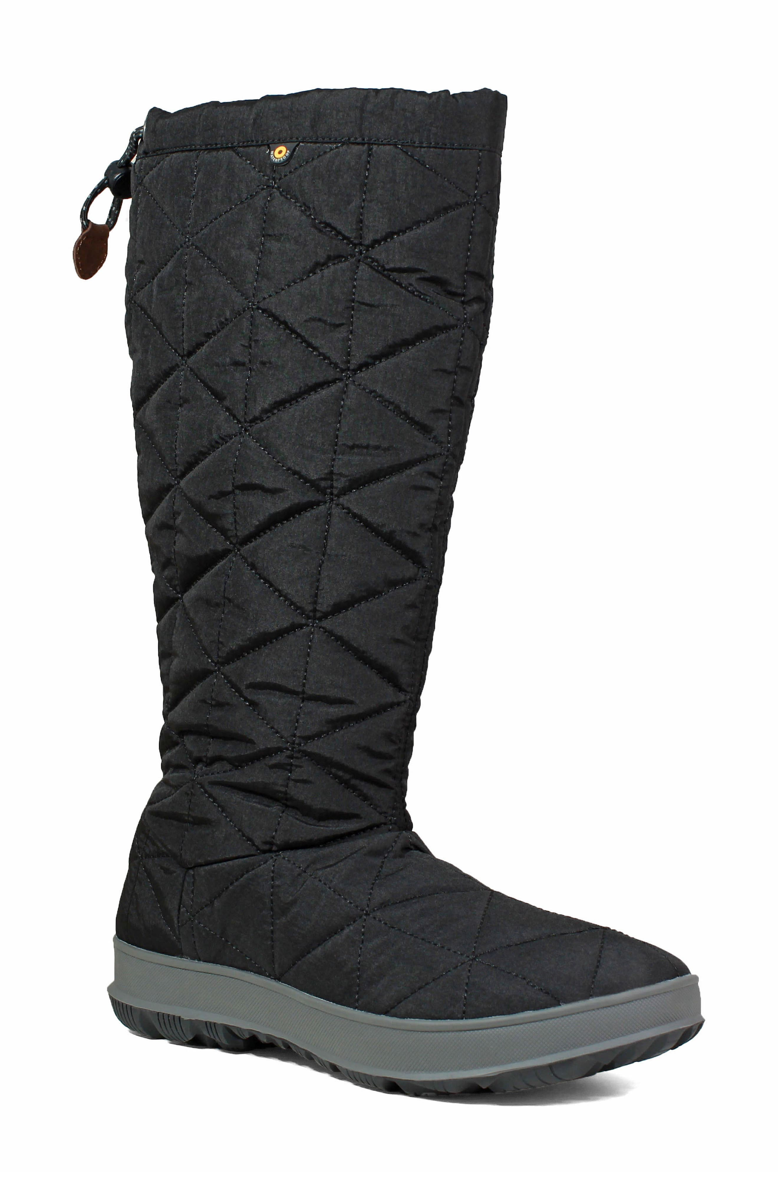 BOGS, Snowday Tall Waterproof Quilted Snow Boot, Main thumbnail 1, color, BLACK