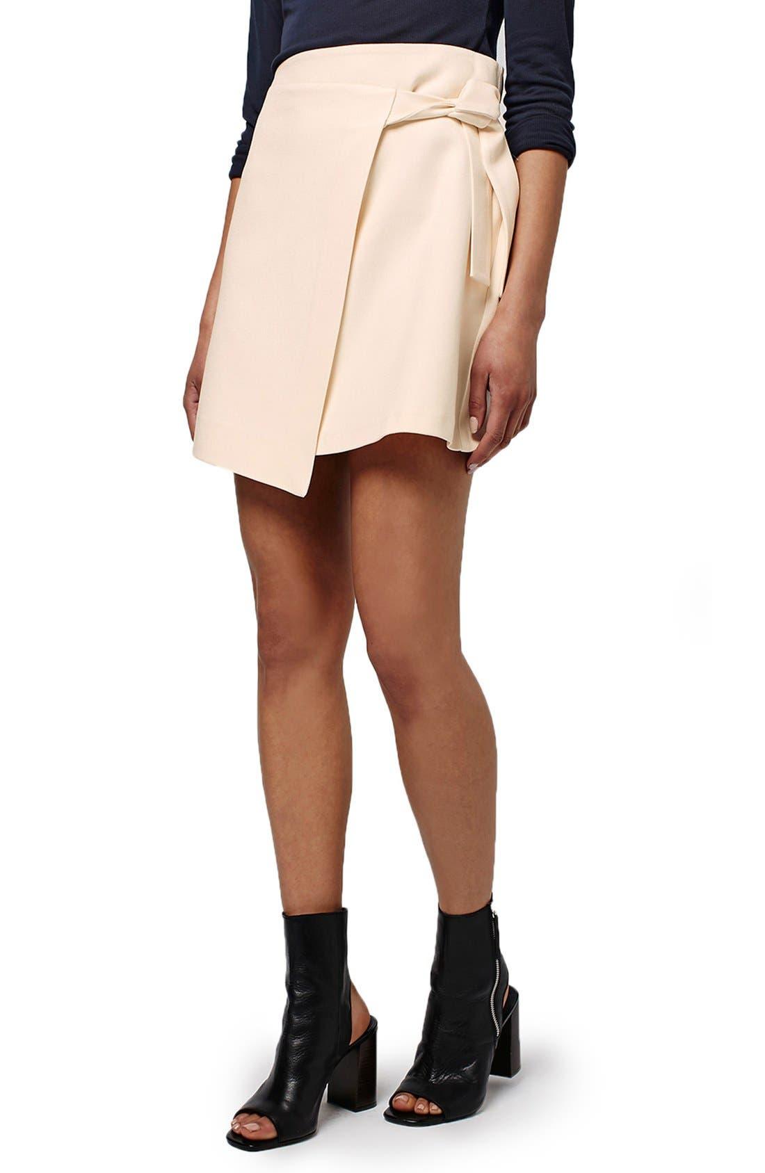 TOPSHOP, Faux Wrap Miniskirt, Main thumbnail 1, color, 900