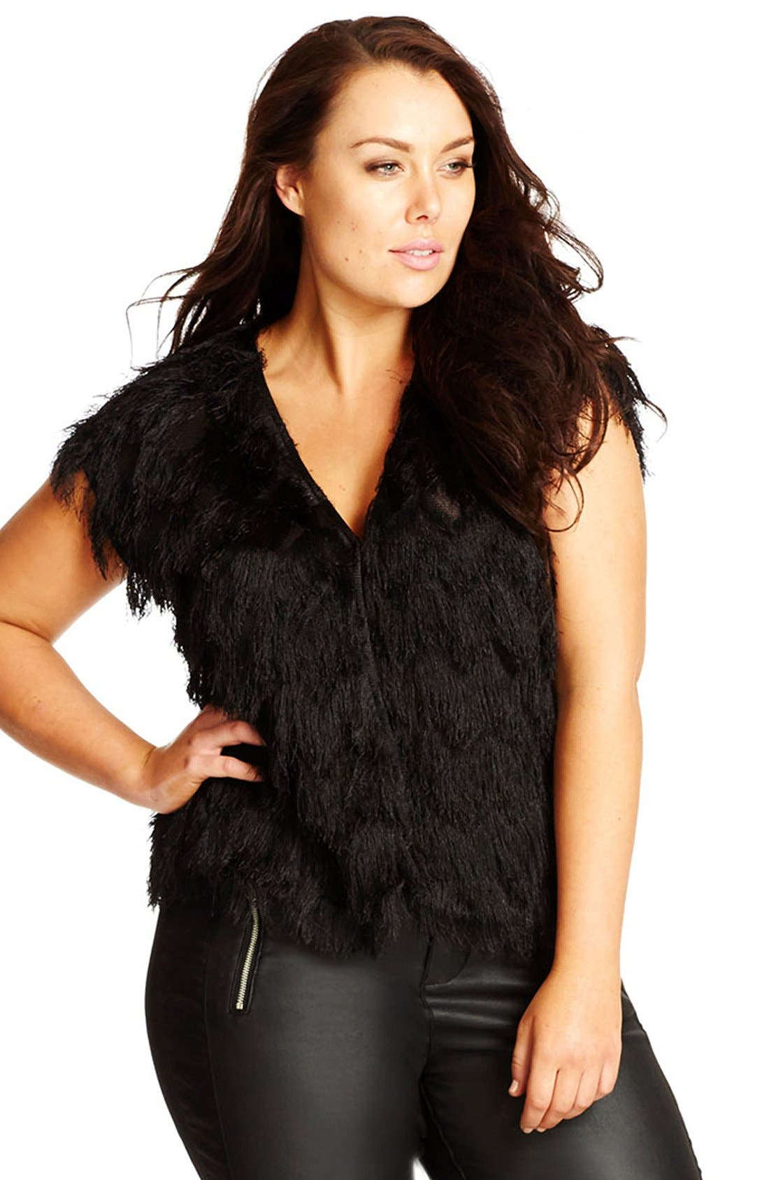 CITY CHIC, 'Disco Fringe' Vest, Alternate thumbnail 4, color, 001