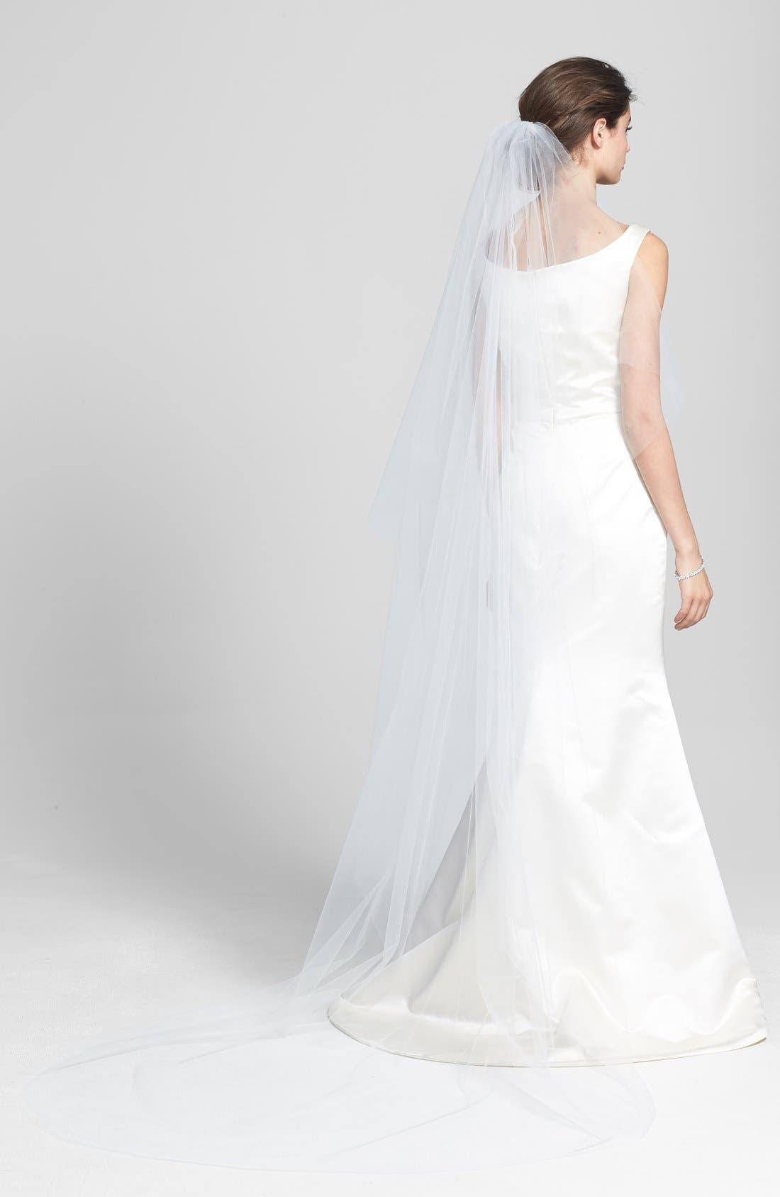 WEDDING BELLES NEW YORK, 'Ellen' Cathedral Veil, Main thumbnail 1, color, WHITE