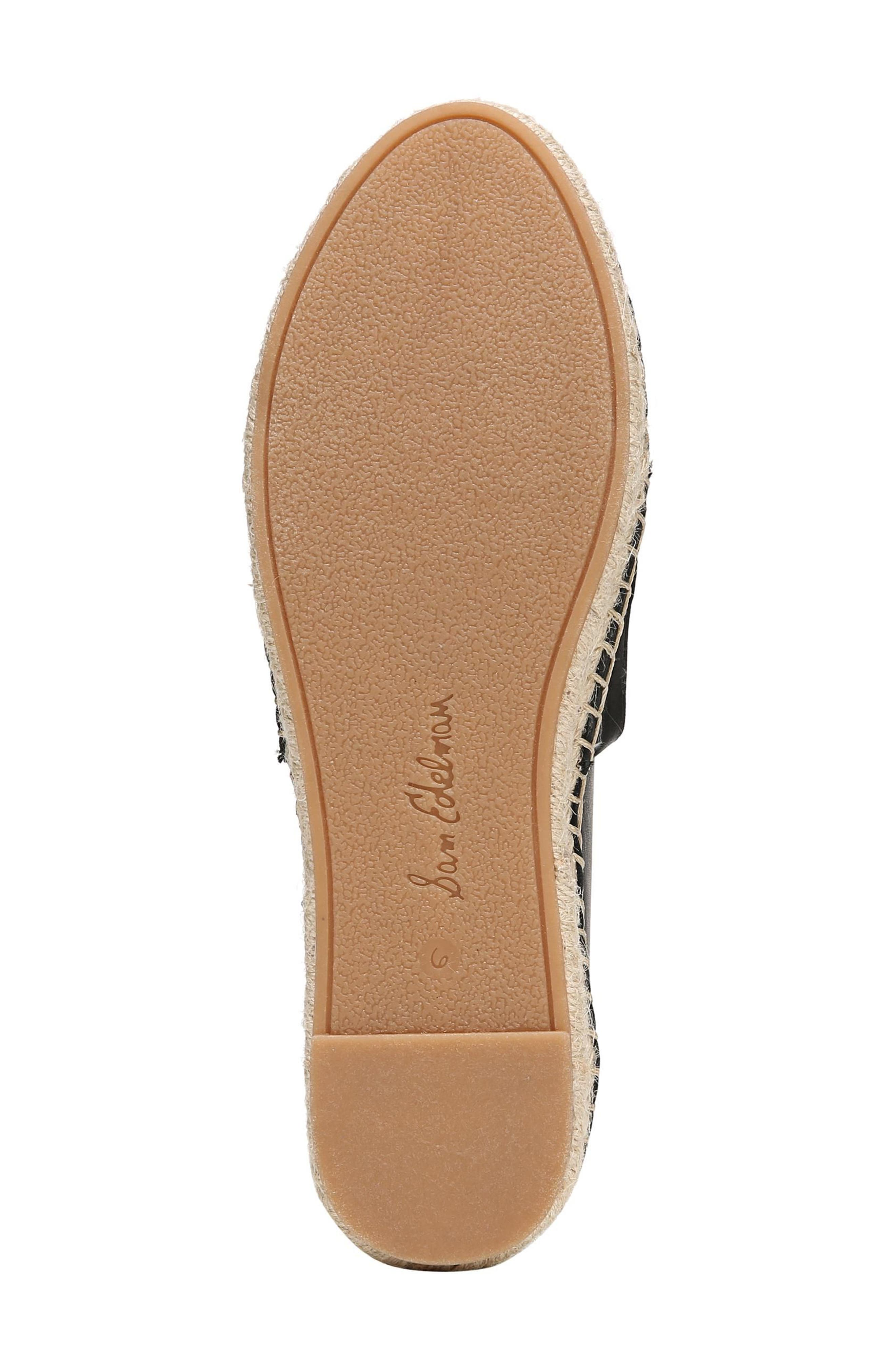 SAM EDELMAN, Khloe Espadrille Flat, Alternate thumbnail 6, color, BLACK LEATHER