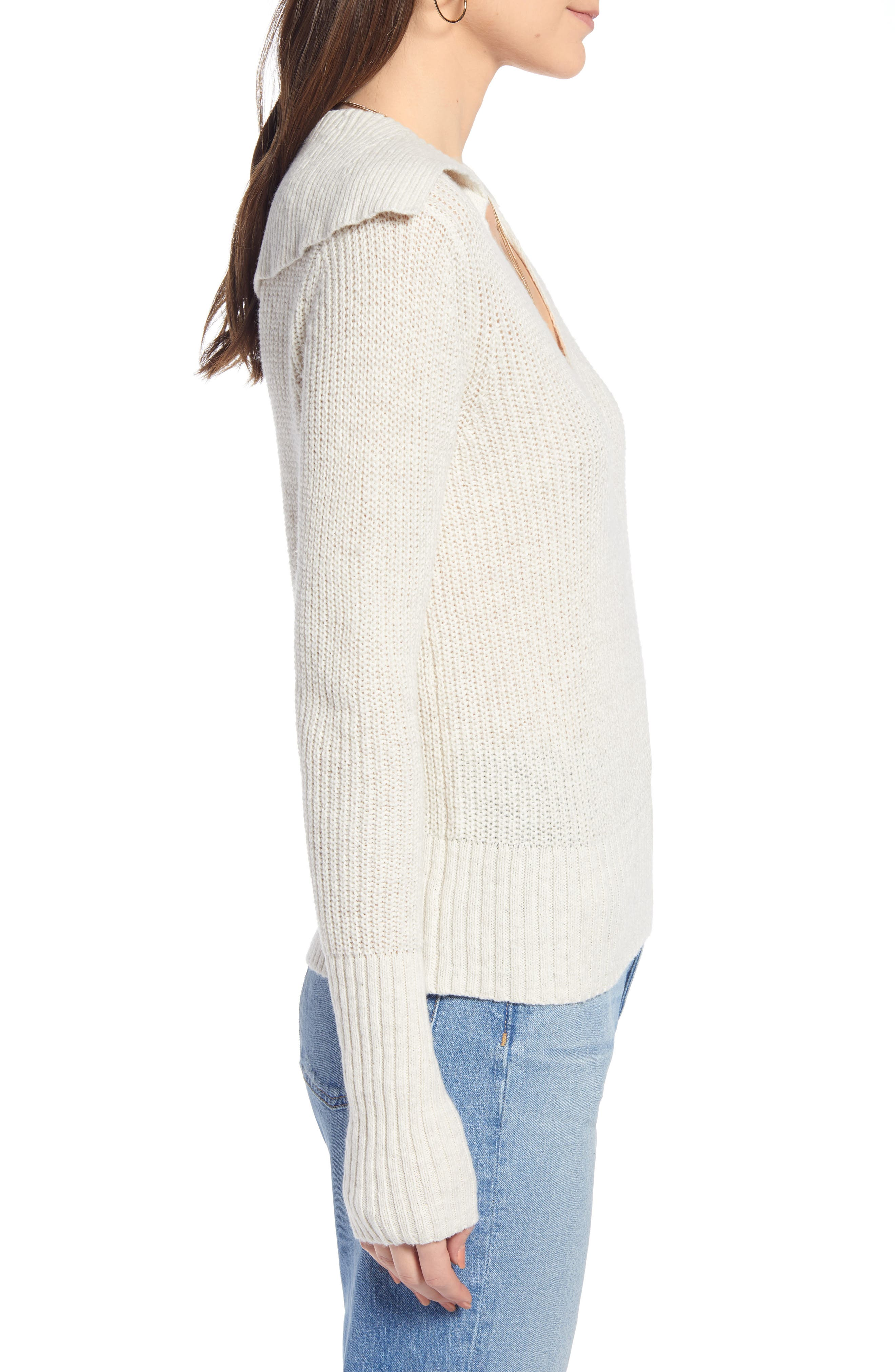 SOMETHING NAVY, V-Neck Polo Sweater, Alternate thumbnail 5, color, BEIGE OATMEAL LIGHT HEATHER