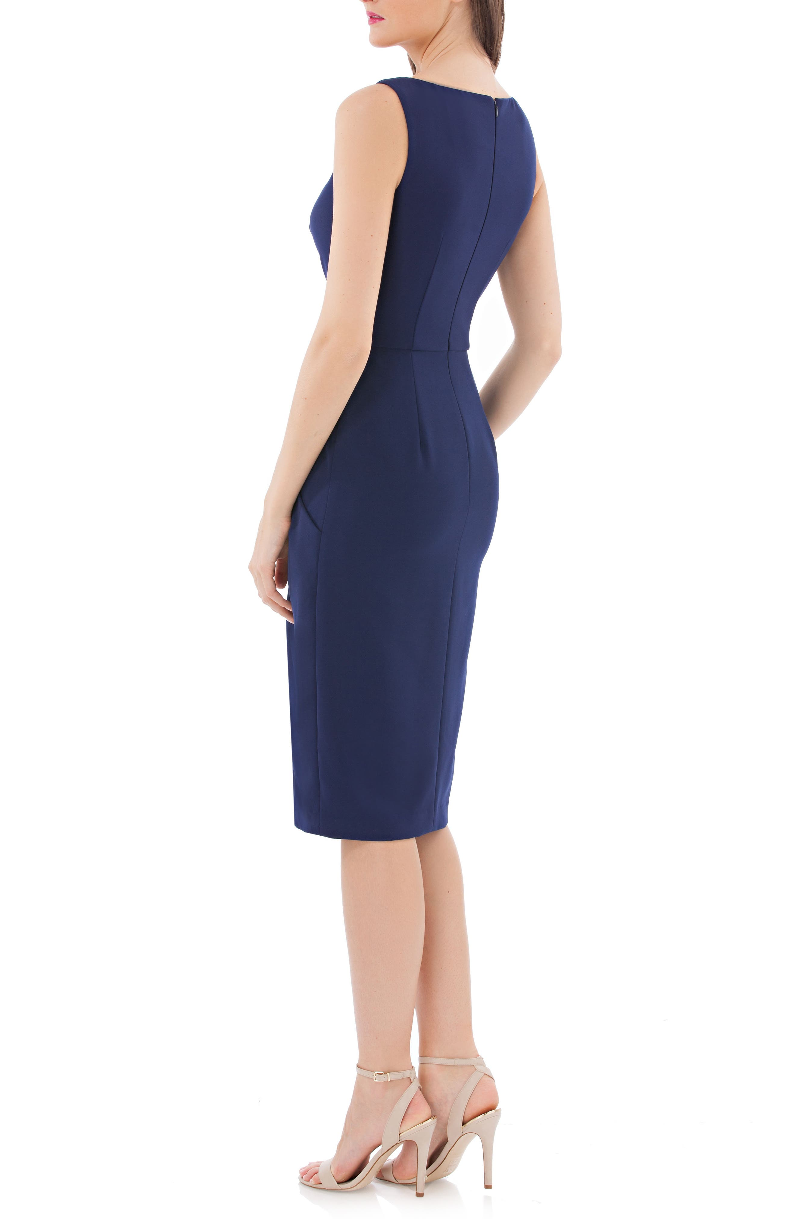 JS COLLECTIONS, Pleated Crepe Cocktail Dress, Alternate thumbnail 2, color, NAVY