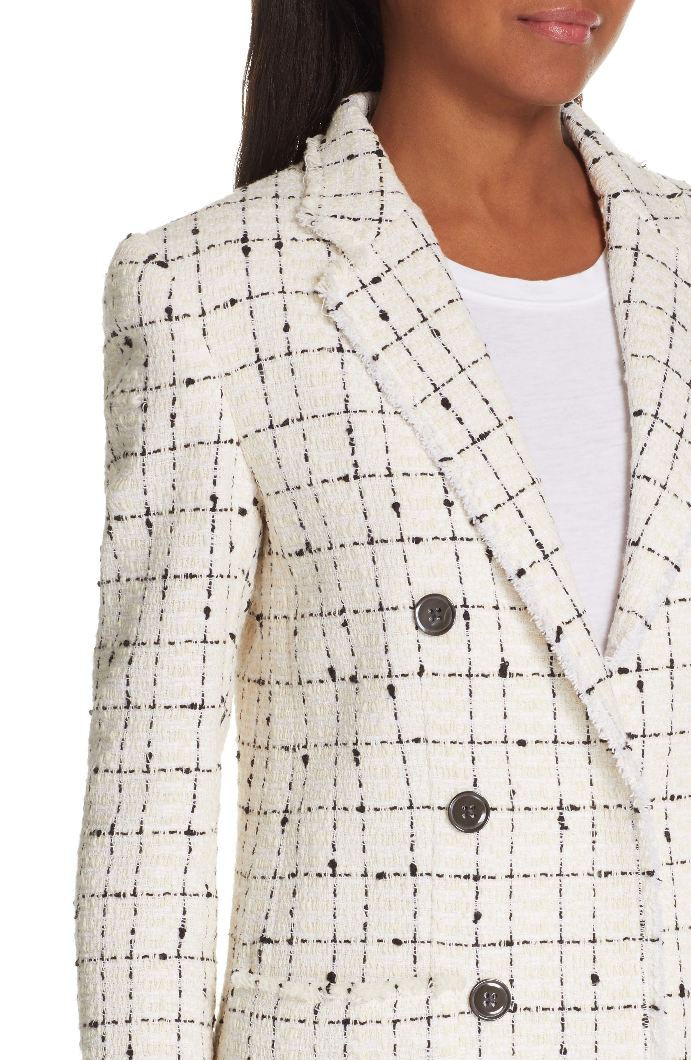 REBECCA TAYLOR, Windowpane Plaid Tweed Double-Breasted Blazer, Alternate thumbnail 4, color, 902