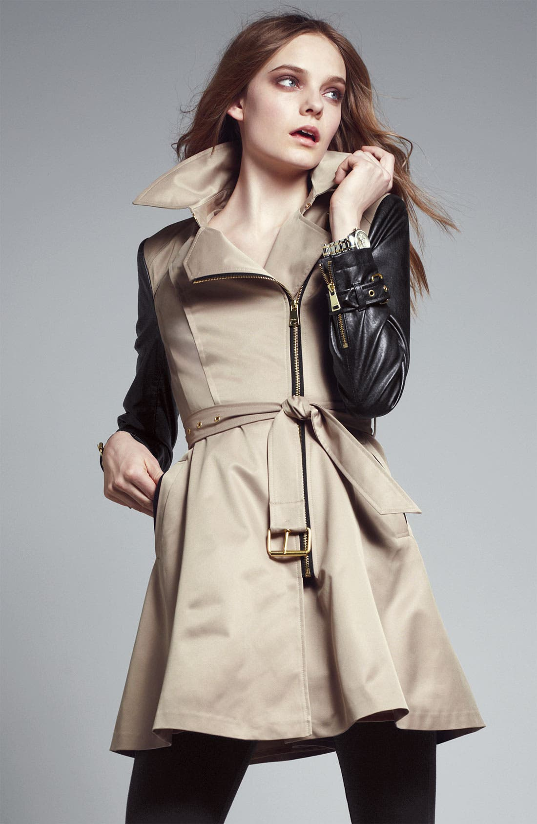 BEBE, Mixed Media Trench Coat, Alternate thumbnail 4, color, 250