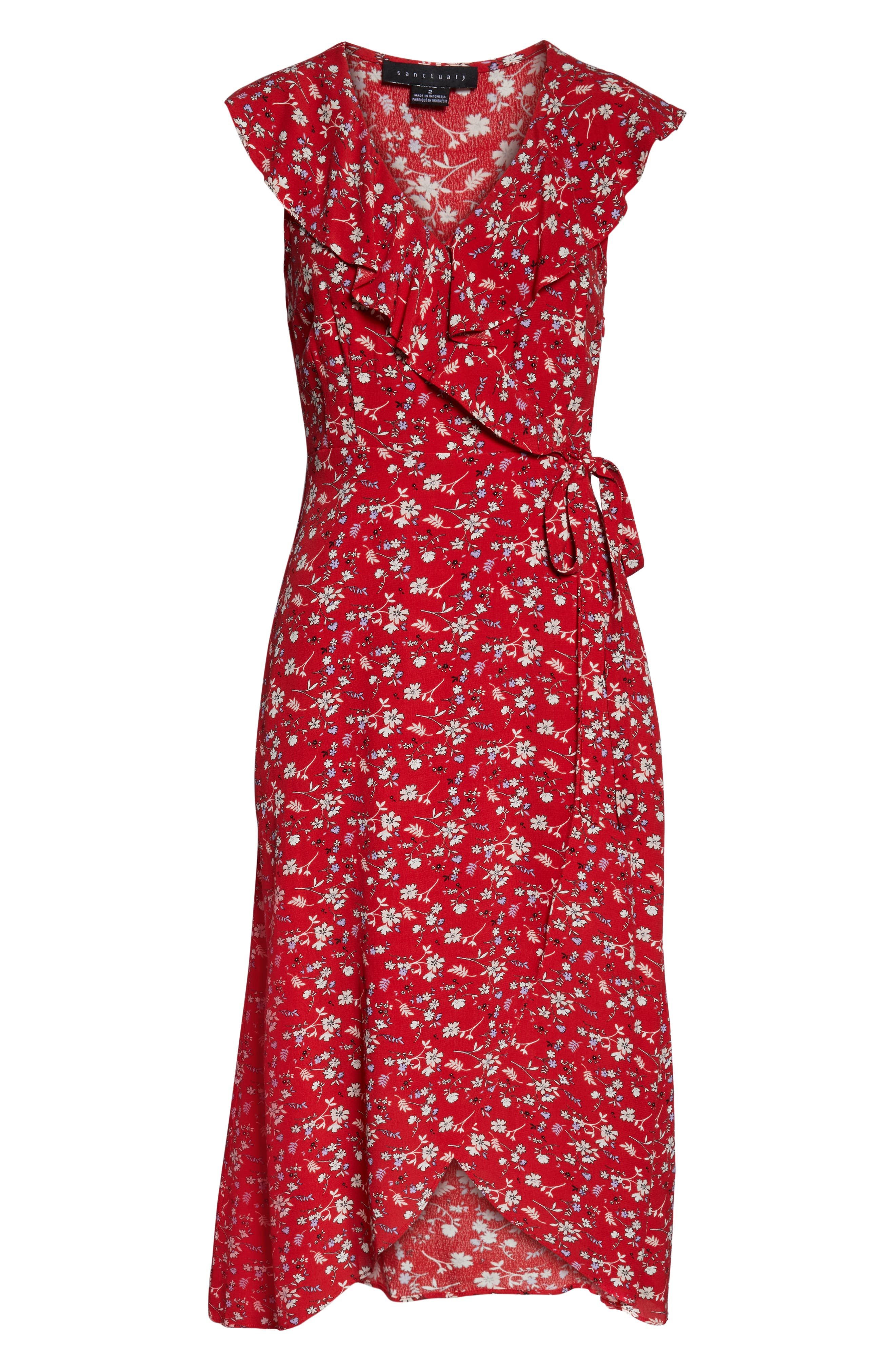 SANCTUARY, Jolynn Faux Wrap Midi Dress, Alternate thumbnail 5, color, SIMPLY RED